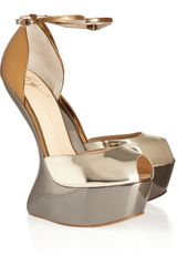 Giuseppe Zanotti Cutout Wedge Metallic Leather Sandals - Lyst