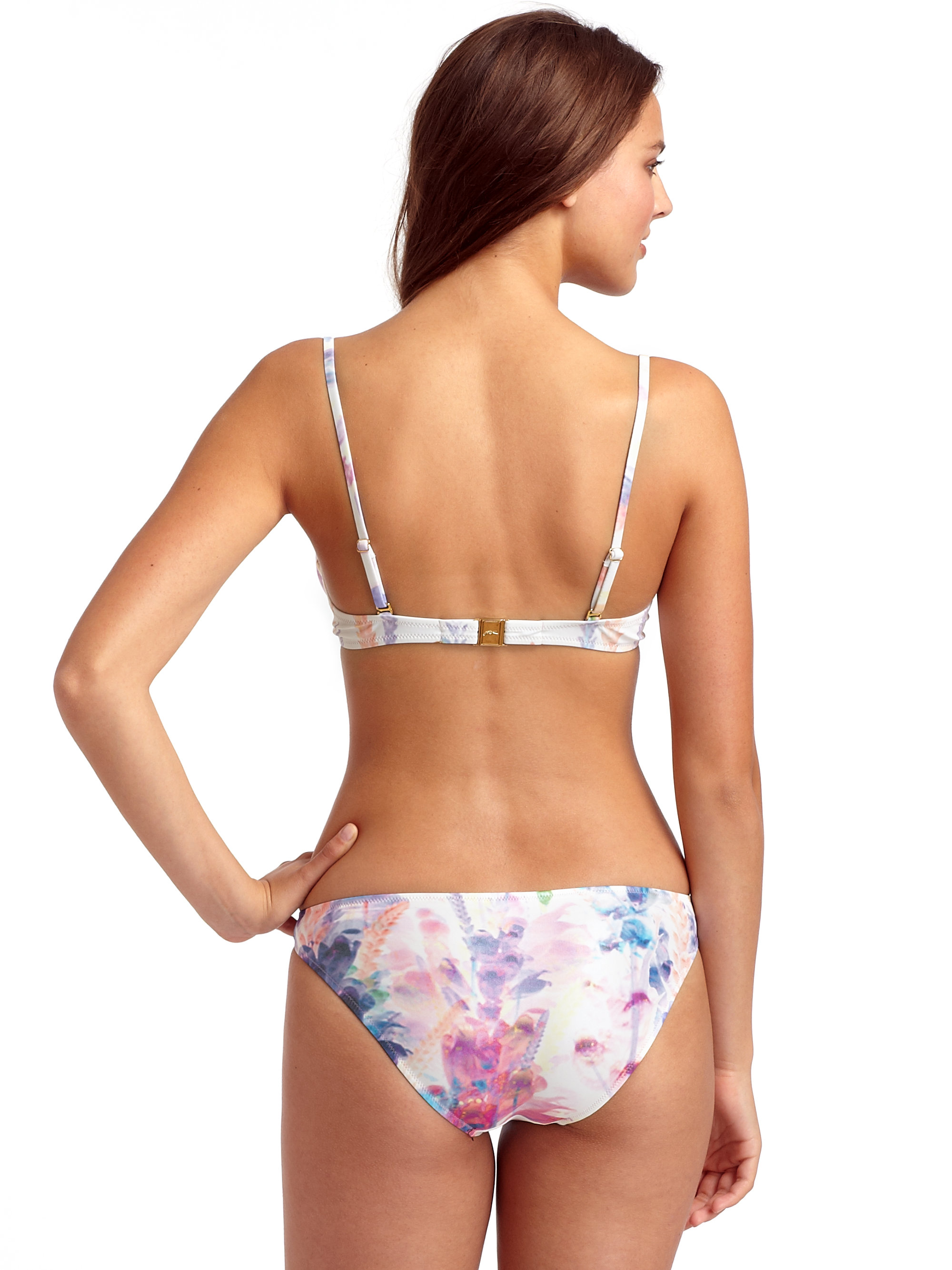 Lyst gottex flower stem two piece bikini in white gallery mightylinksfo