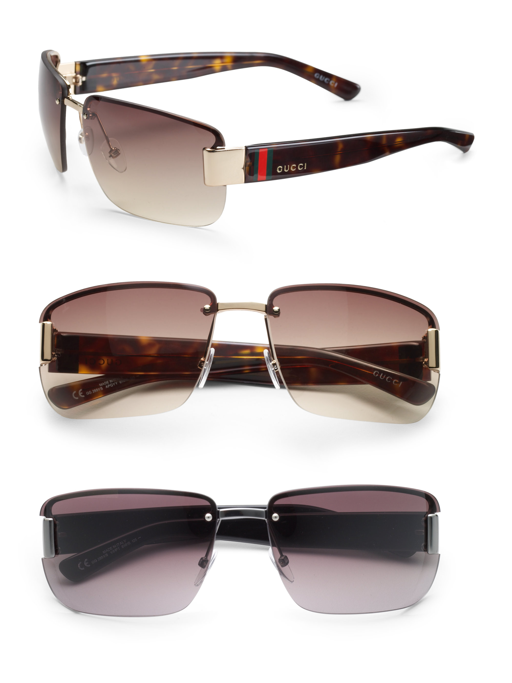 bac23d932d Gucci Rimless Rectangle Sunglasses in Black for Men - Lyst