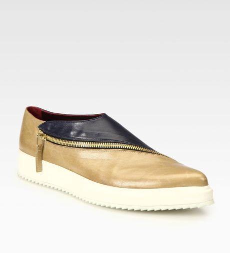 jil sander bicolor zippertrimmed wedge tennis shoes in