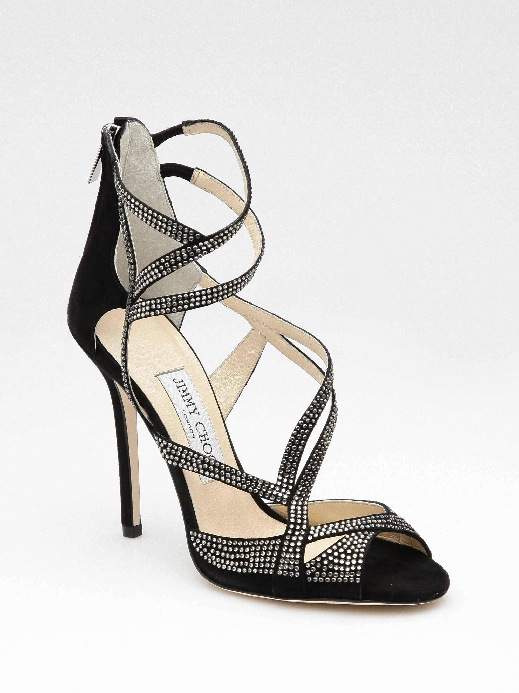 b03d2ea8fe70 Lyst - Jimmy Choo Dome Suede Crystal Strappy Sandals in Black