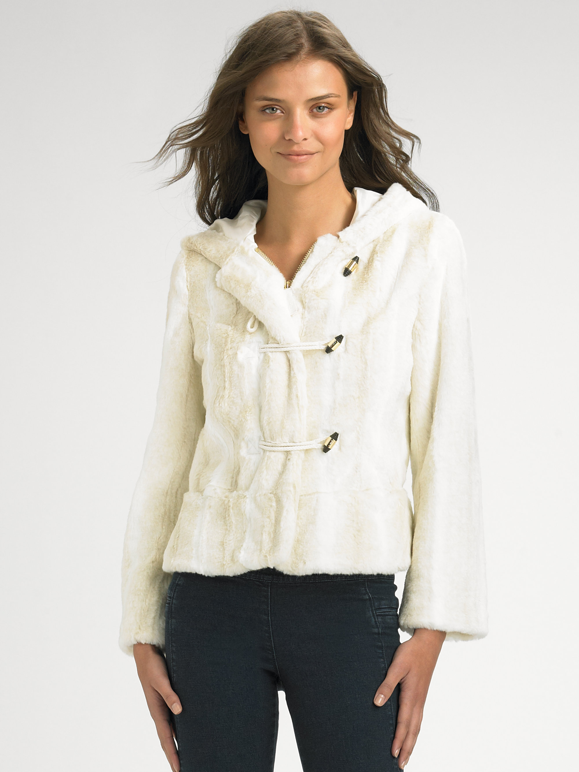 Juicy Couture Faux Fur Hooded Jacket In White Angel Lyst