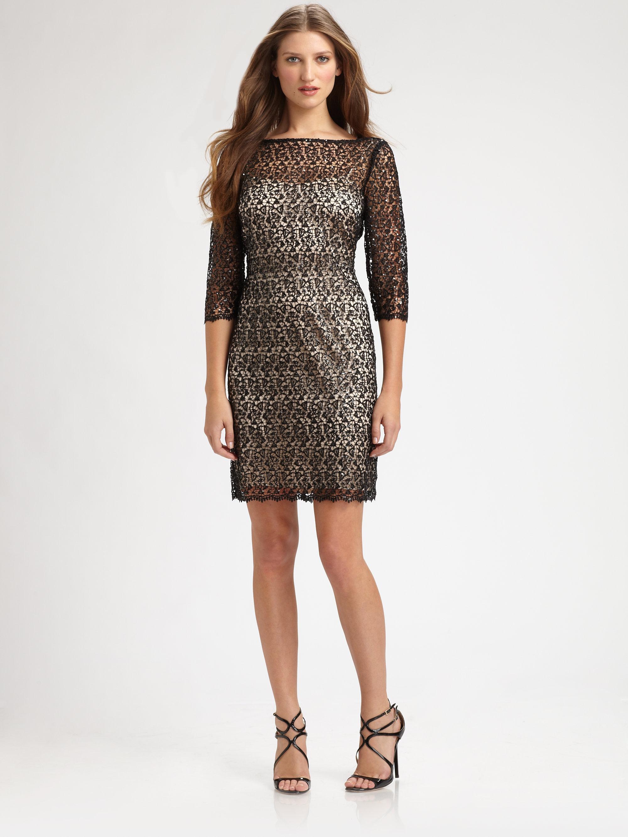 Lauren Ralph Lauren Chevron Sequin Sleeveless Dress