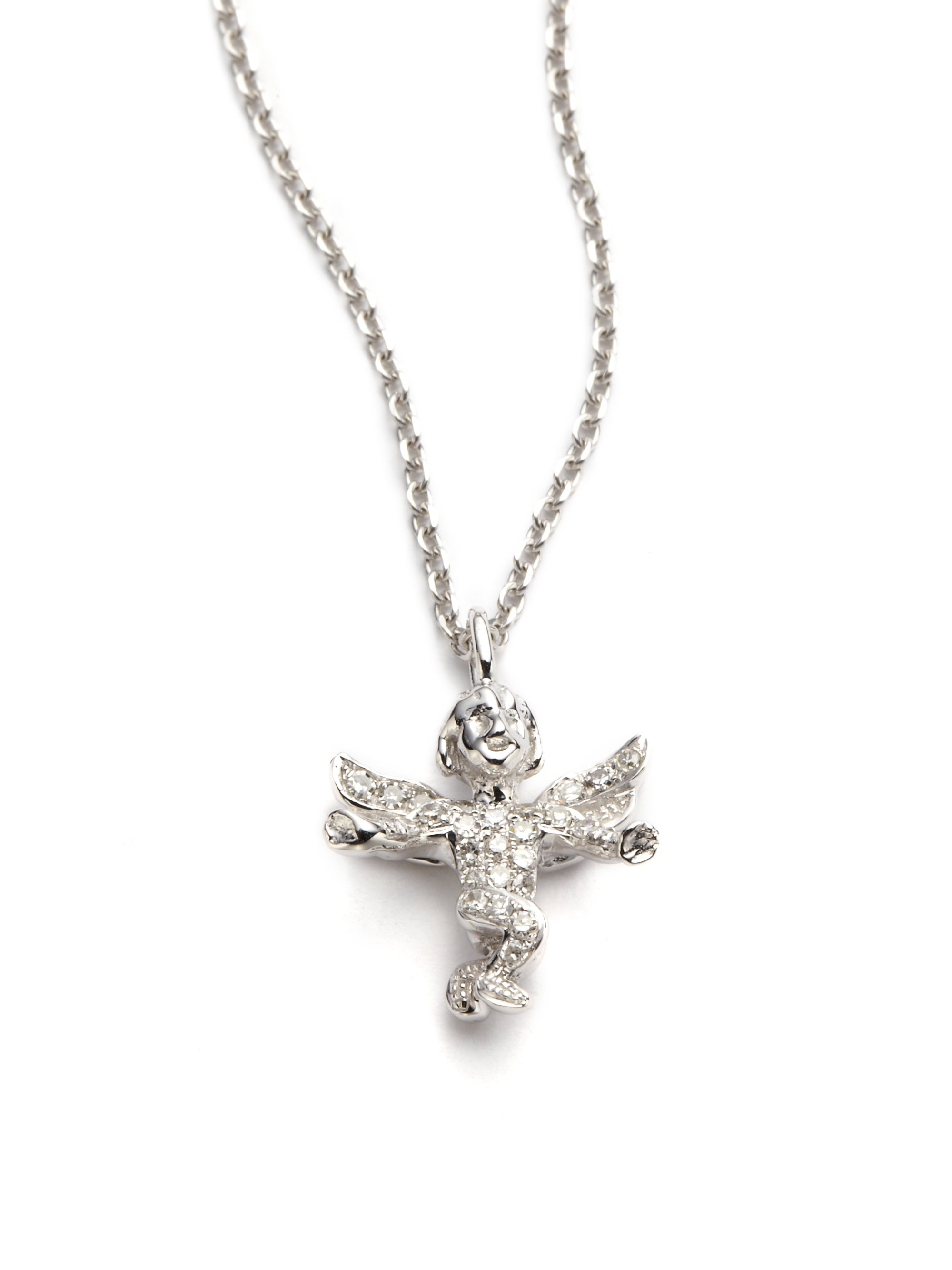 Lyst kc designs diamond guardian angel pendant necklace in white gallery aloadofball Image collections