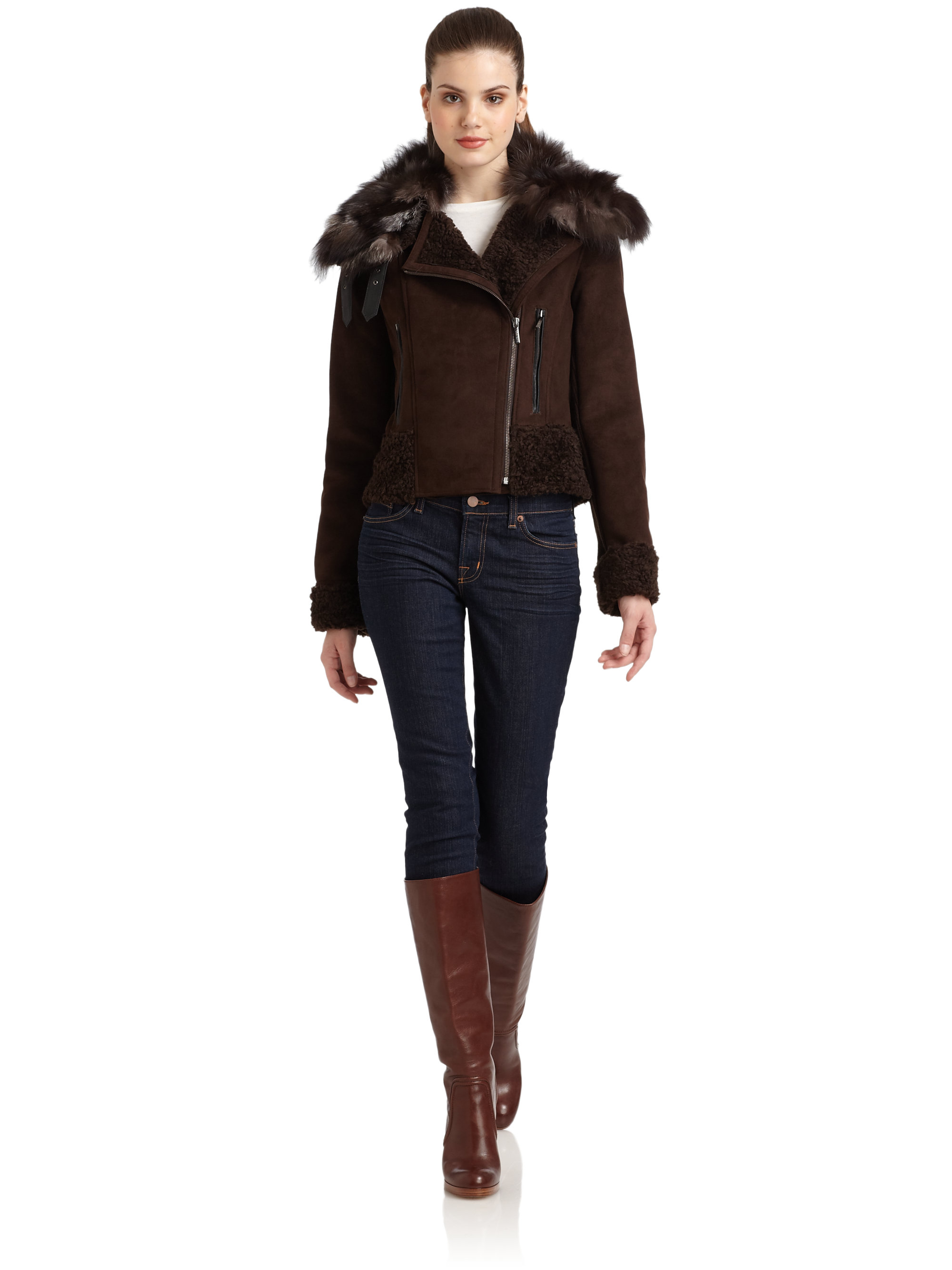 Laundry by shelli segal Fox Furcollar Faux Fur Shearling Jacket in ...