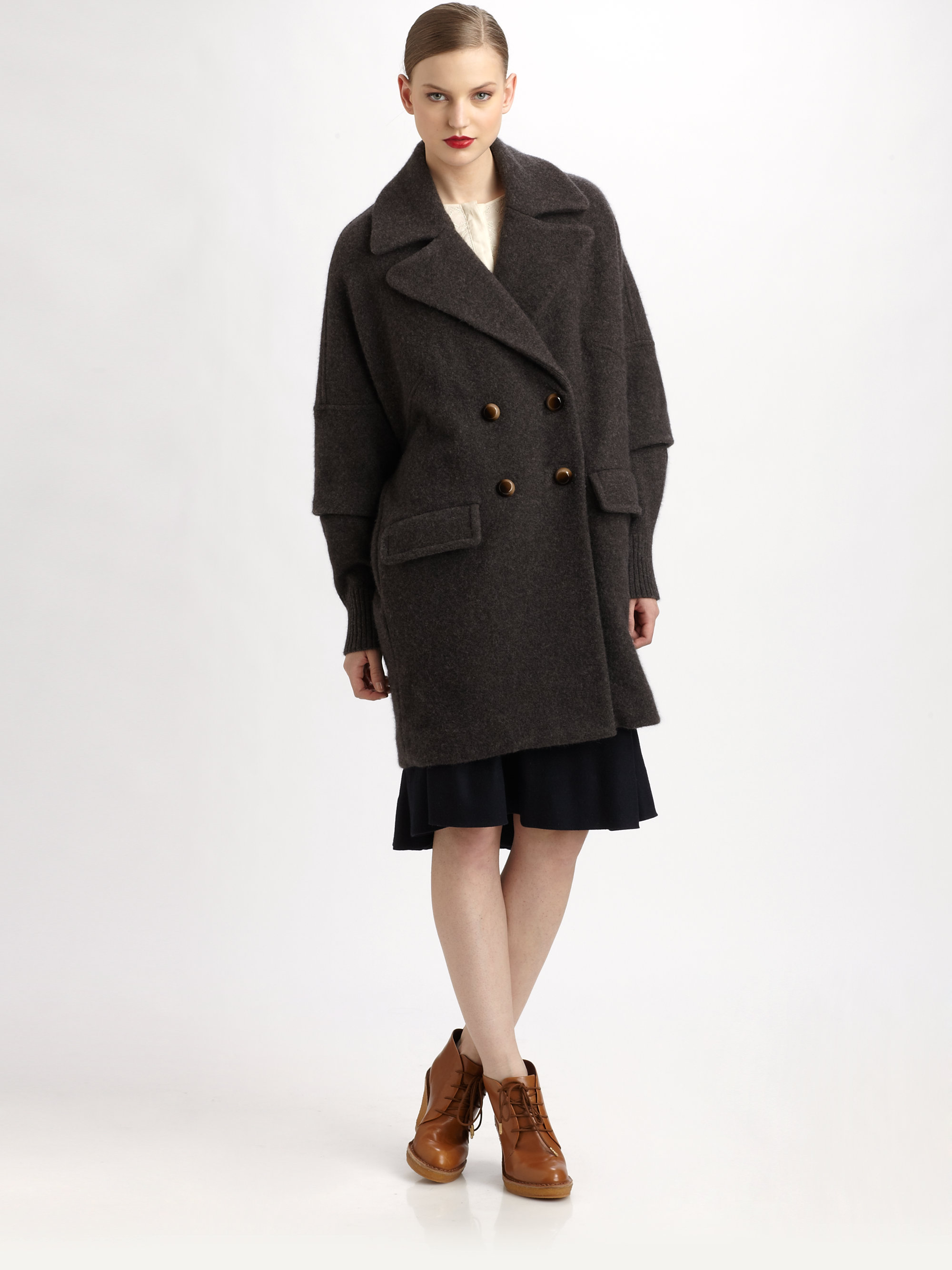 marc by marc jacobs bex sweater coat in brown lyst. Black Bedroom Furniture Sets. Home Design Ideas