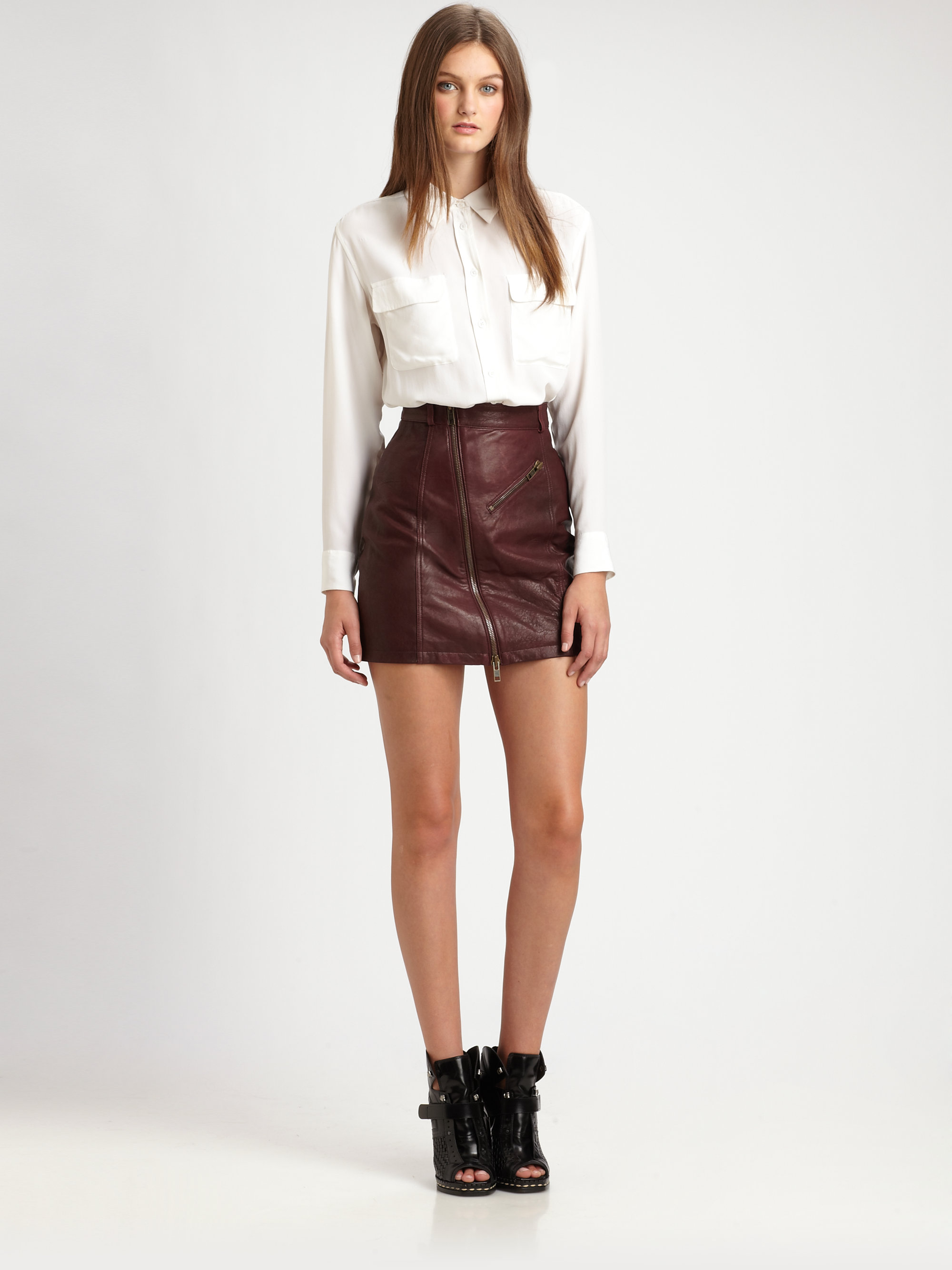 Mcq Leather Mini Pencil Skirt in Brown | Lyst