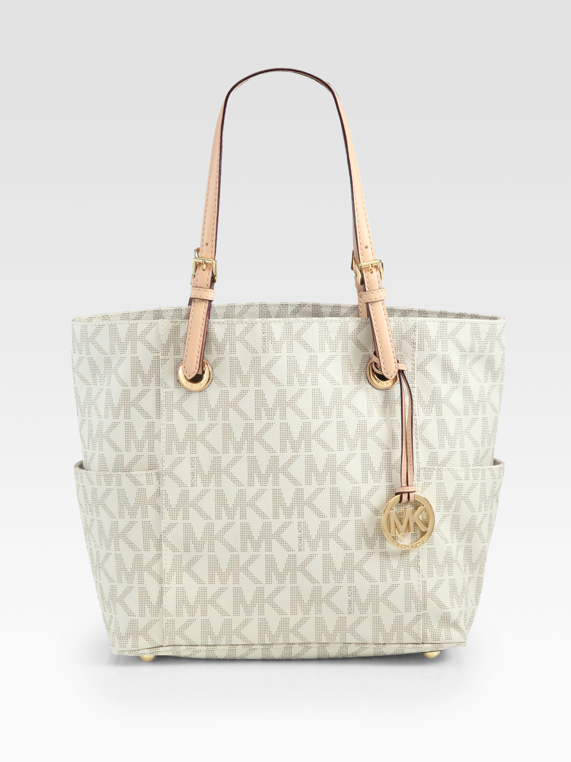 Michael michael kors Signature Logo-patterned Tote in White | Lyst