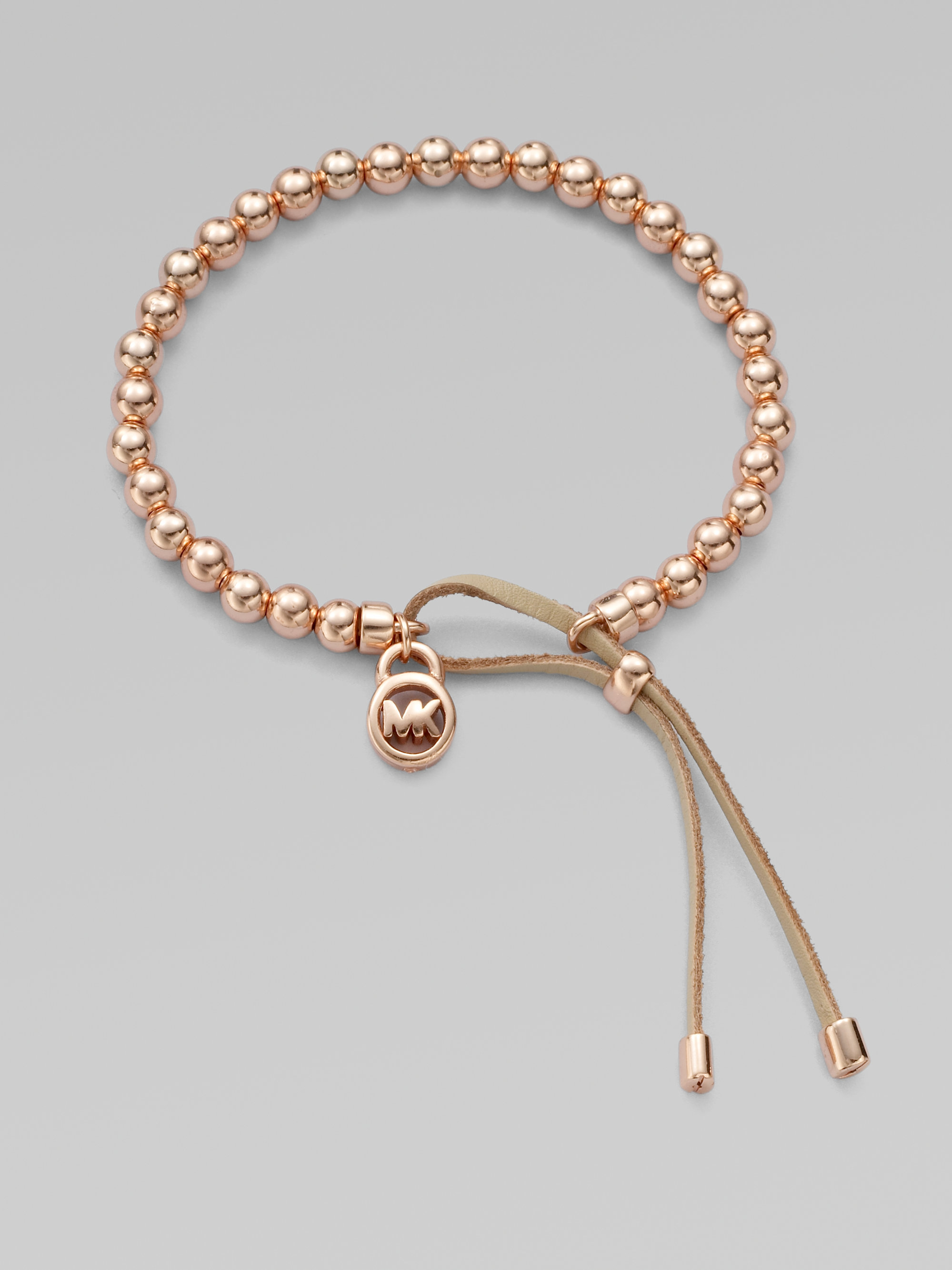 abfc5fad2b2f Lyst - Michael Kors Leather Accented Beaded Bracelet rose Goldtone ...