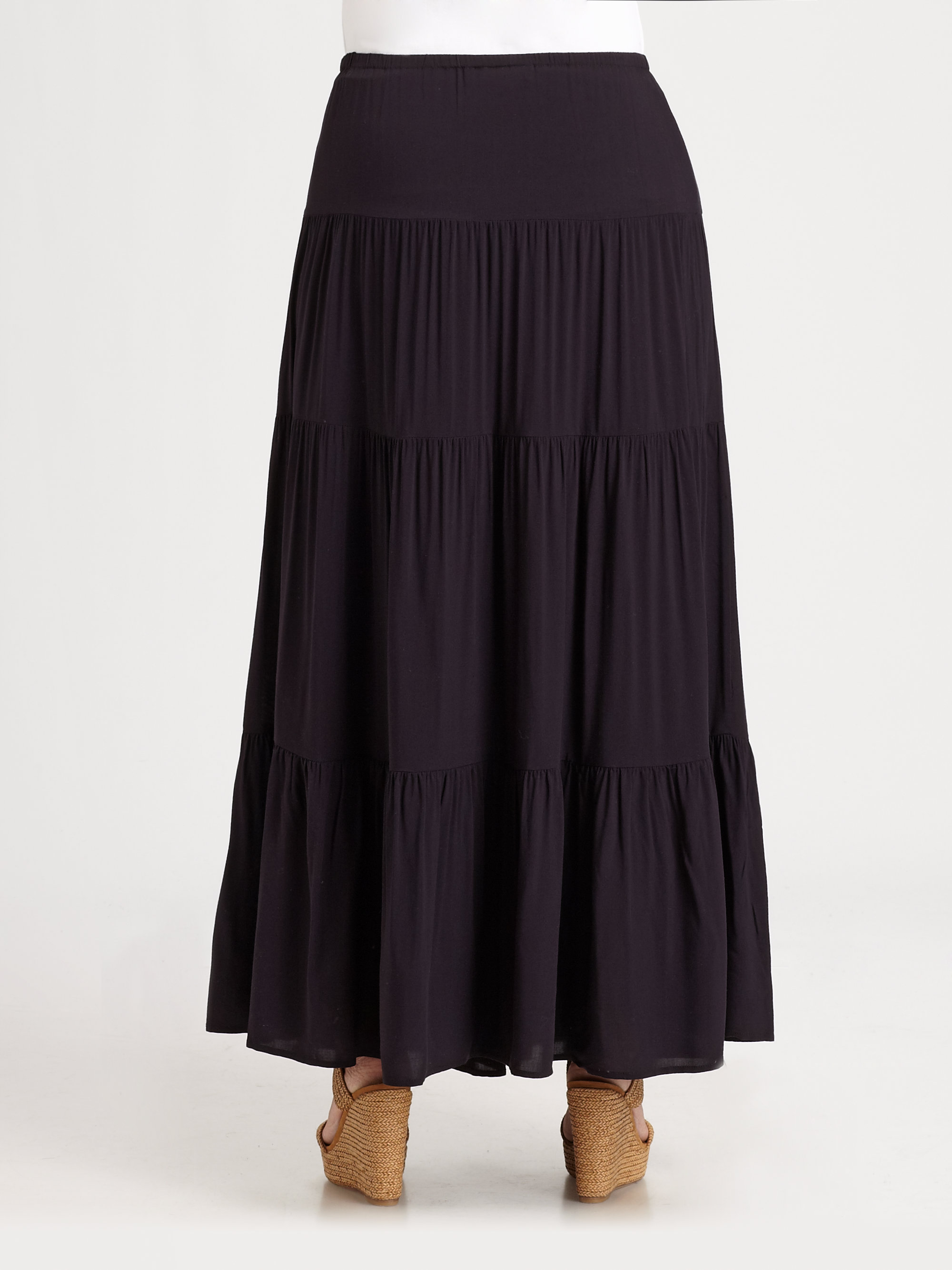 michael michael kors tiered maxi skirt in blue lyst