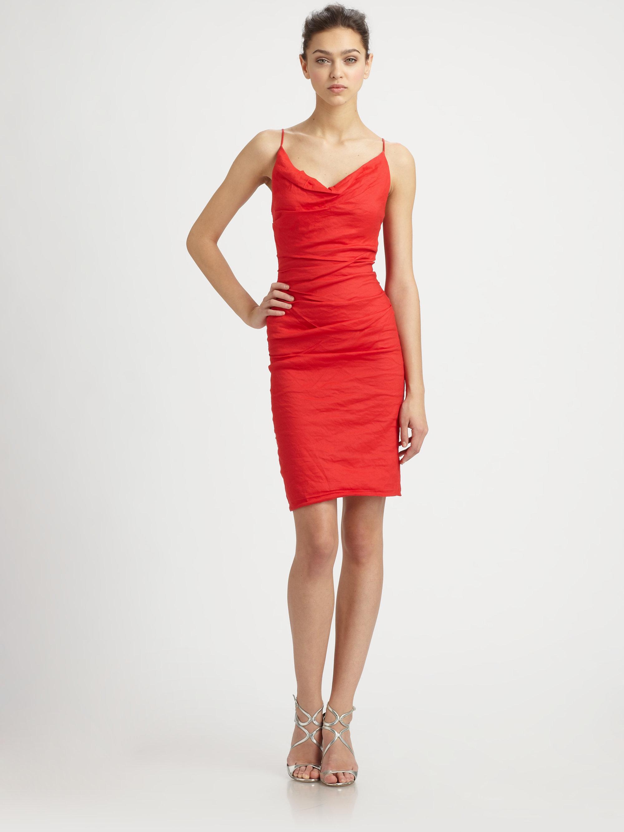 Lyst - Nicole miller Cowl Neck Dress