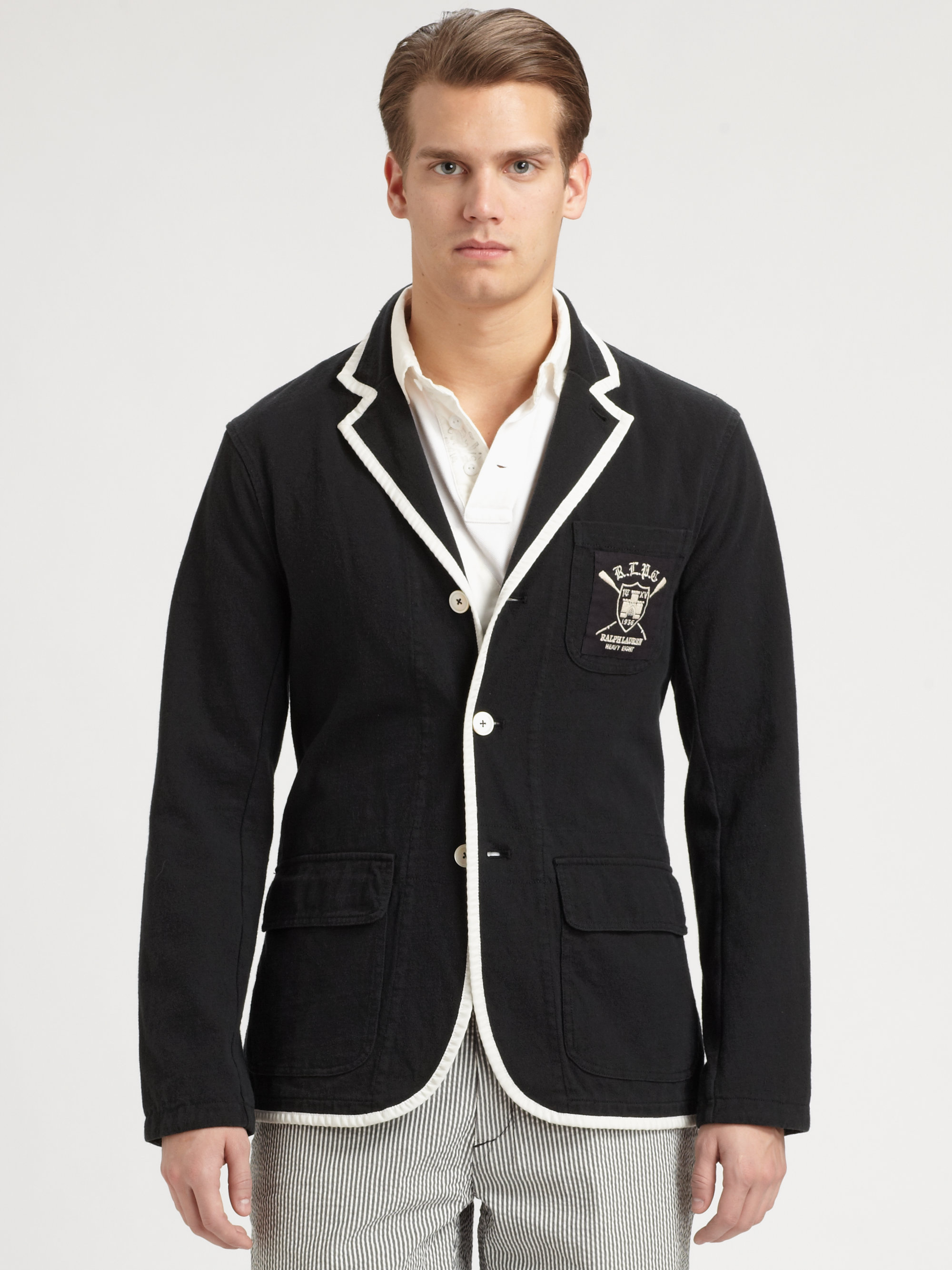 Lyst Polo Ralph Lauren Cotton Jersey Blazer In Black For Men