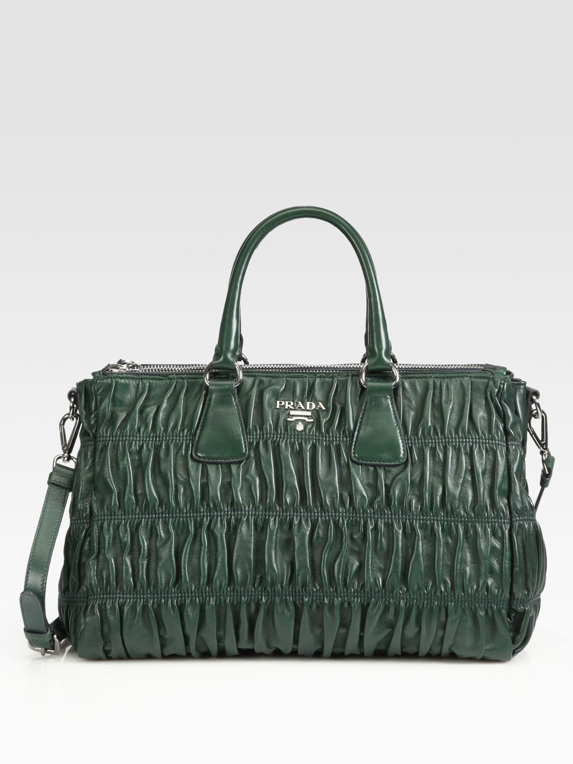 8fcabfa7ebc3 Prada Nappa Gaufre Shopping Bag in Green - Lyst