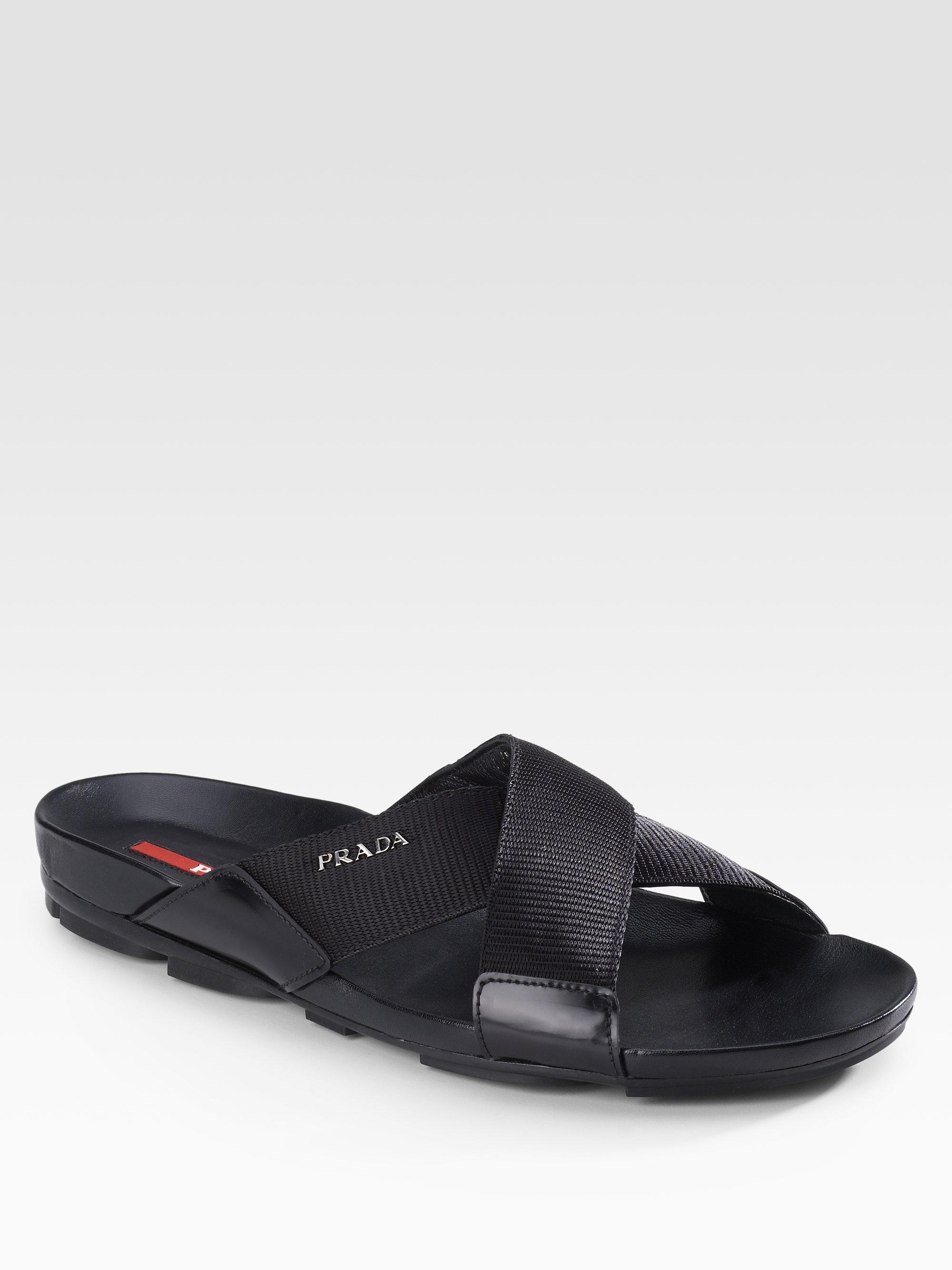 ffe0e24bccb3 Lyst - Prada Leather Sandals in Black for Men