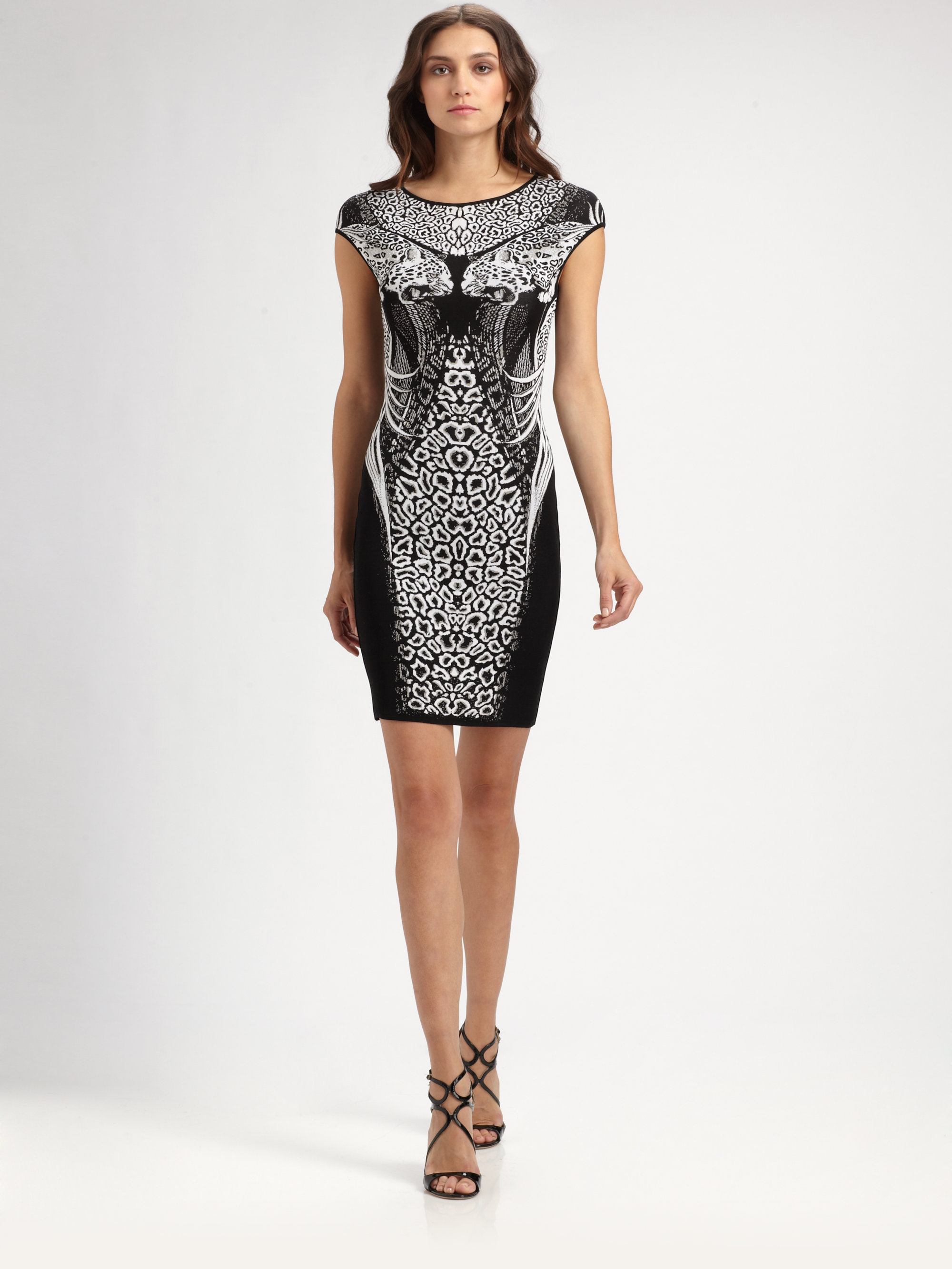 3d3c66e52e7 Roberto Cavalli Animal Print Dress in Black - Lyst