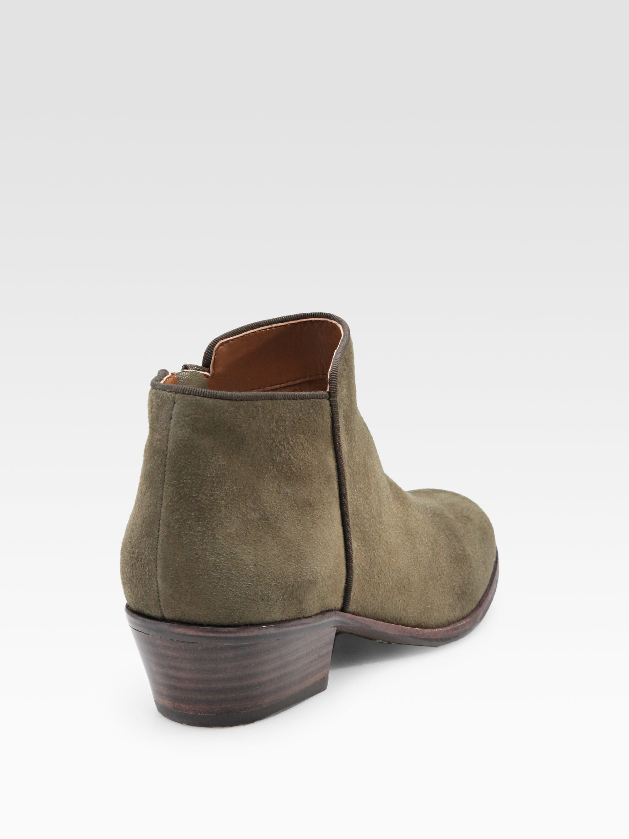 Sam edelman Petty Lowcut Suede Ankle Boots in Natural | Lyst