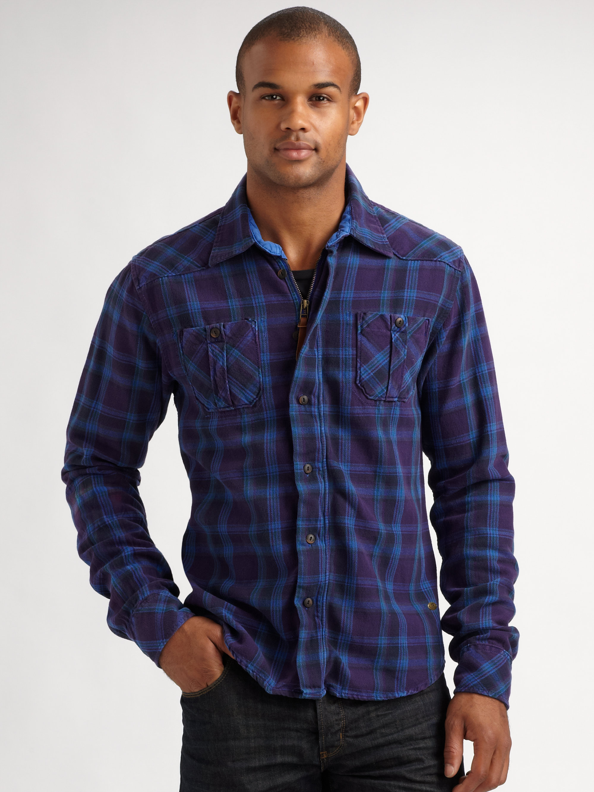 Scotch & soda Flannel Shirt Jacket in Blue for Men | Lyst