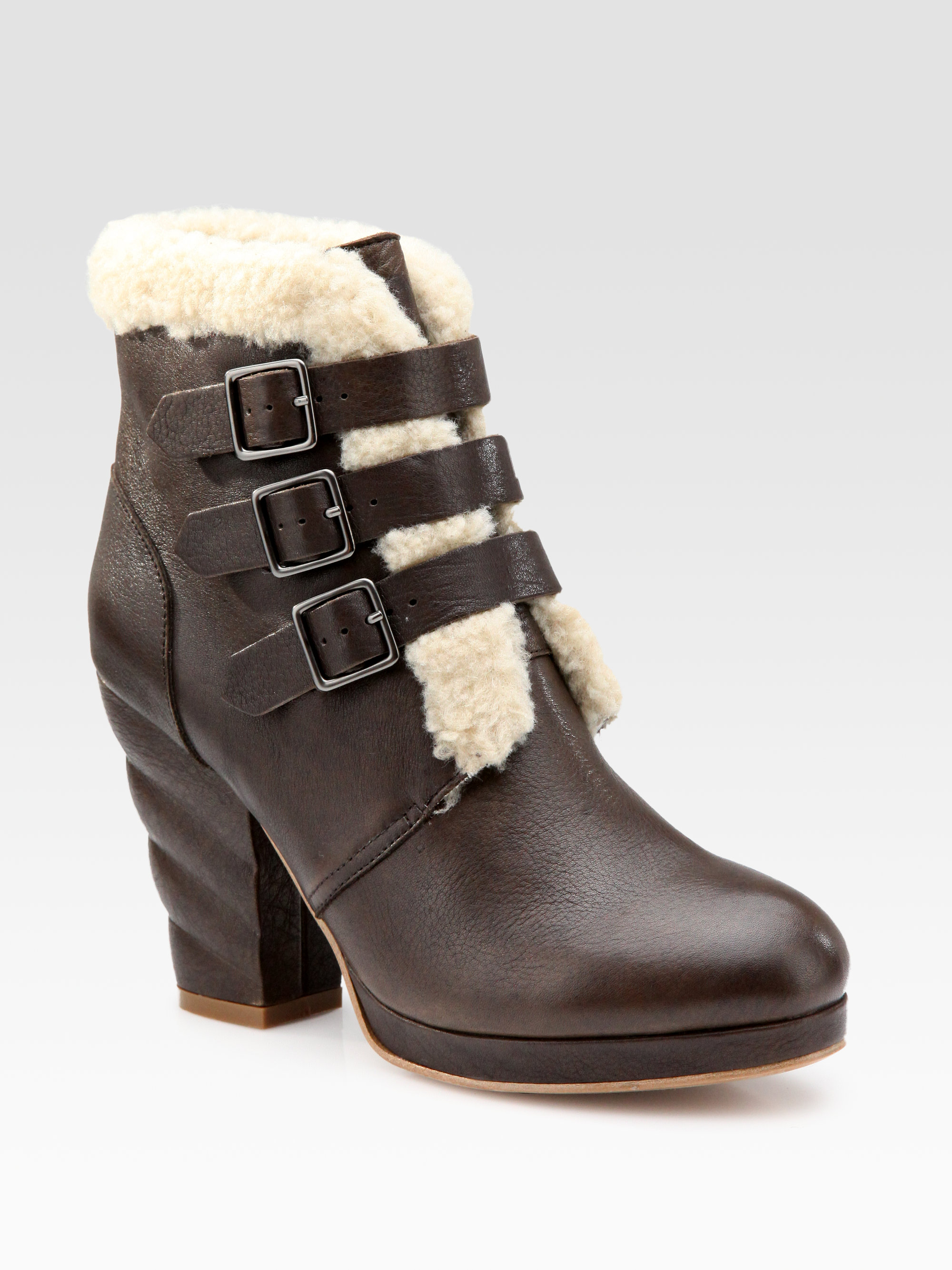 see by chlo 233 leather and shearling buckle ankle boots in
