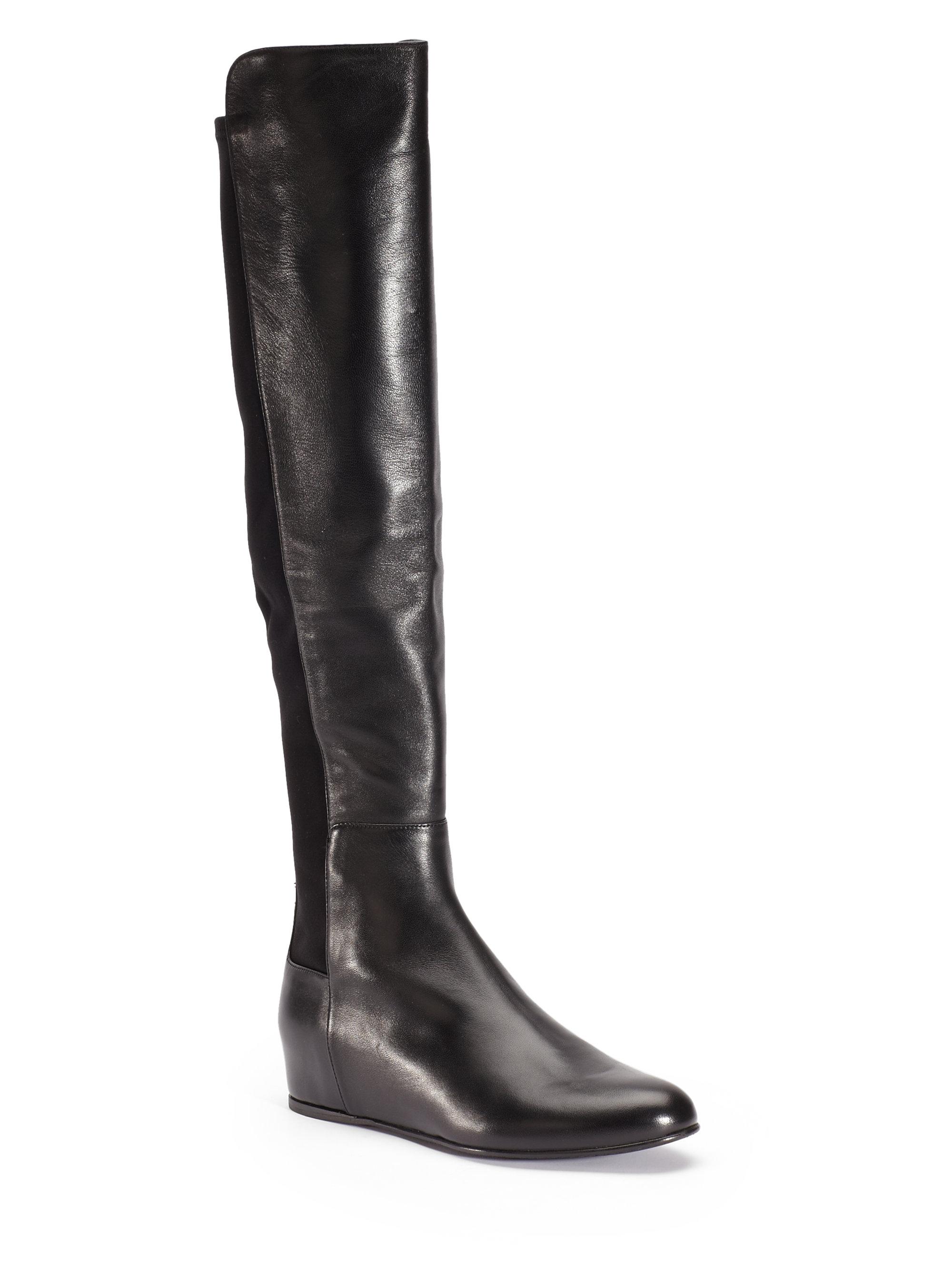 stuart weitzman mainline nappa overtheknee wedge boots in
