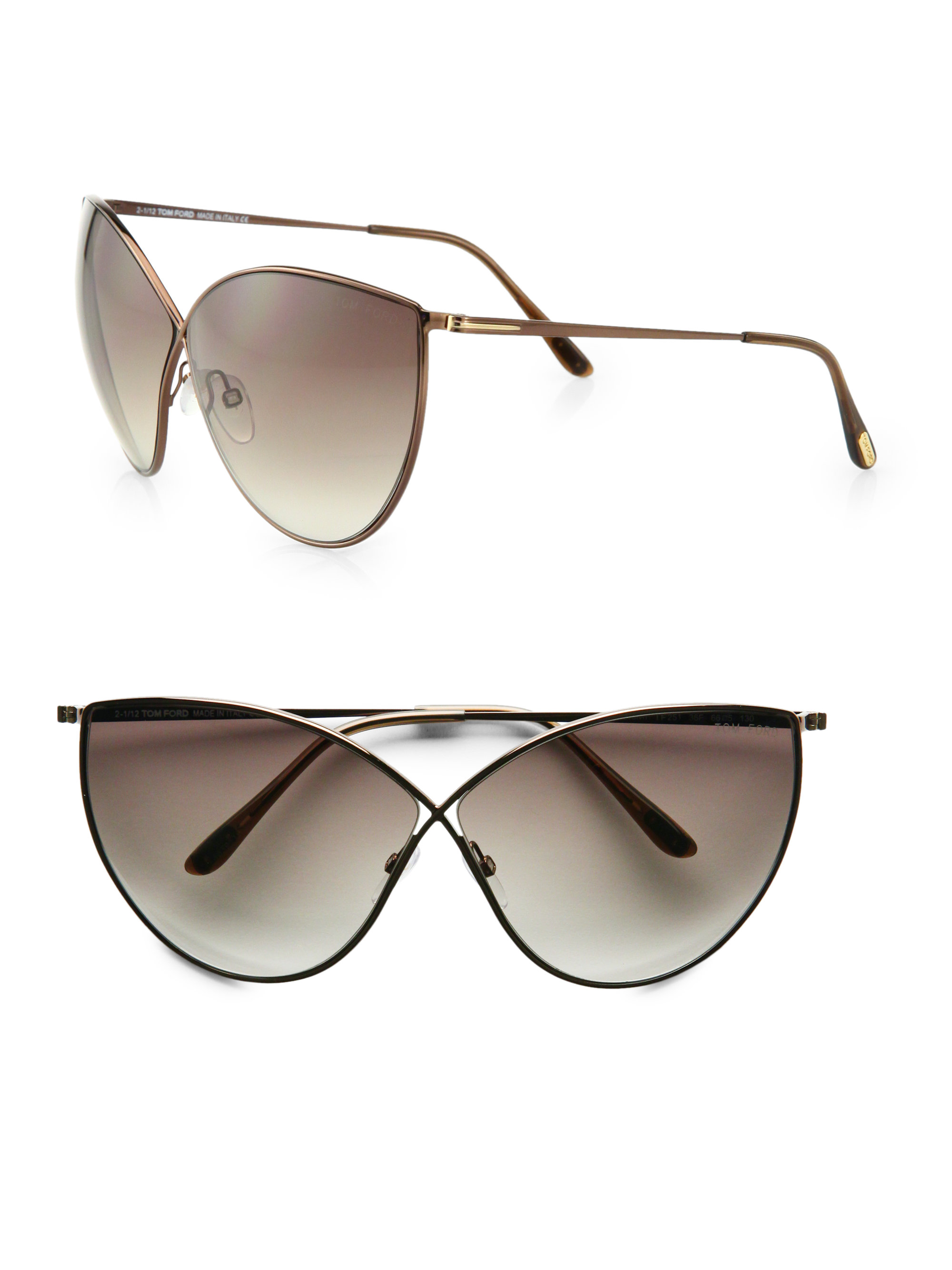 54a21fd23888 Tom Ford Evelyn Metal Catseye Sunglasses in Pink - Lyst