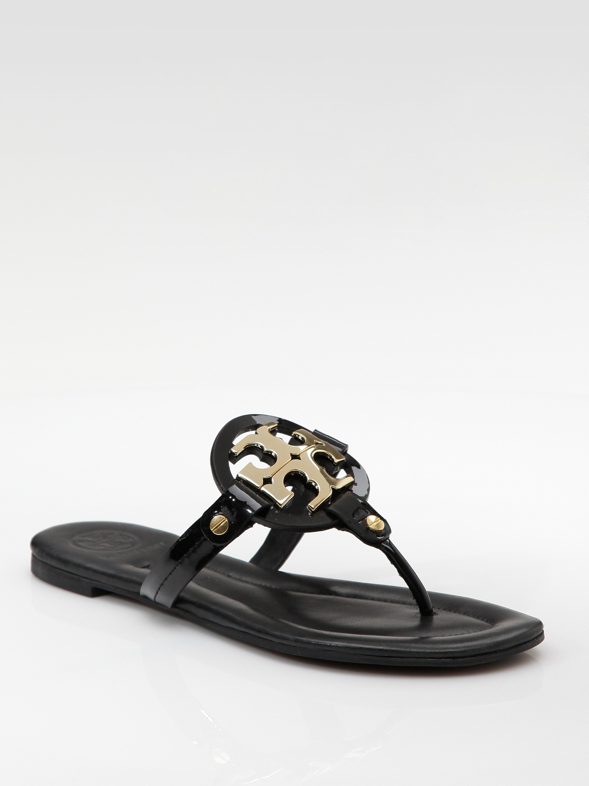 Lyst Tory Burch Patent Leather Flat Sandals In Black