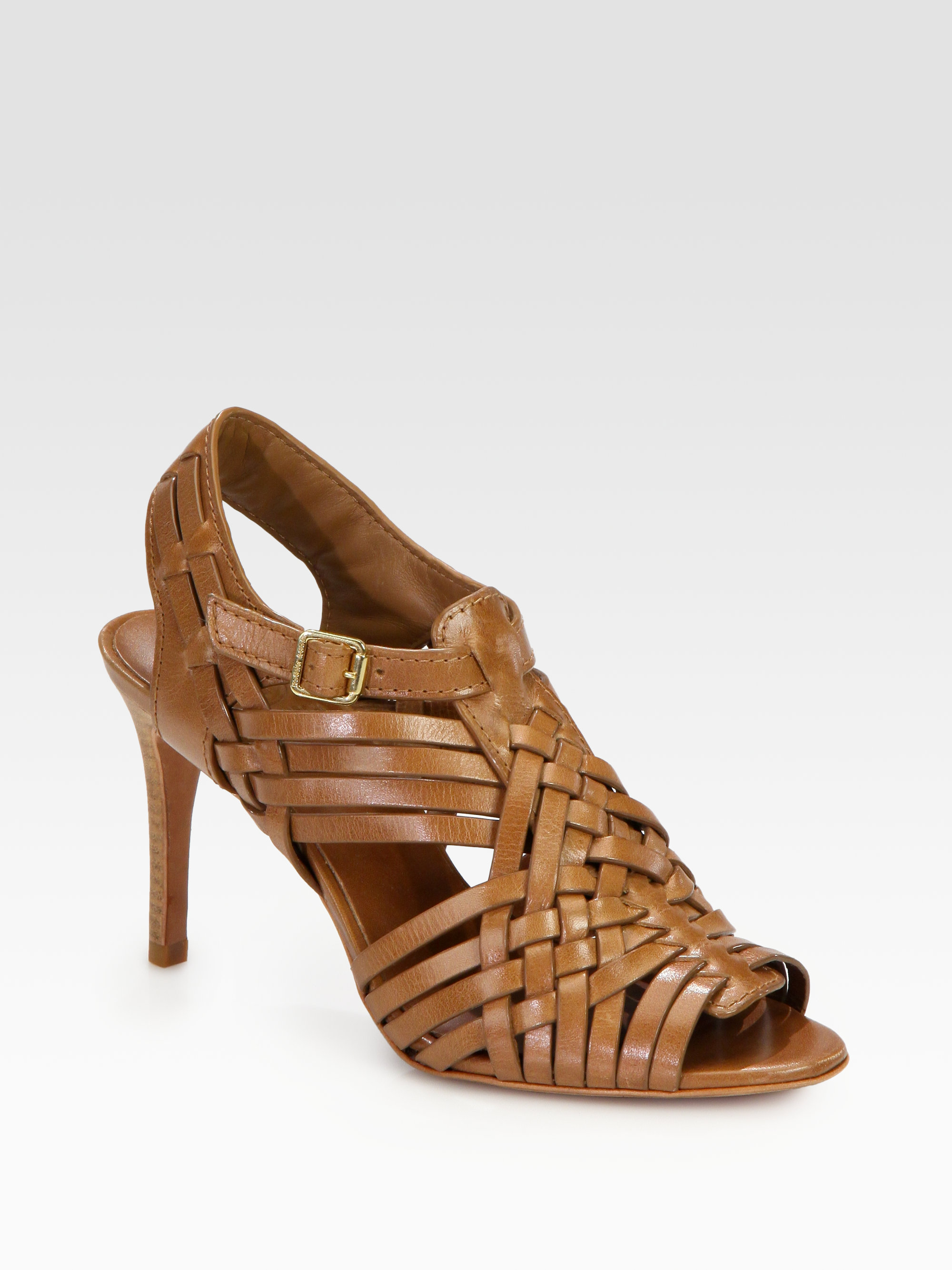 64a0fd10d1cc Lyst - Tory Burch Nadia Woven Leather Sandals in Brown