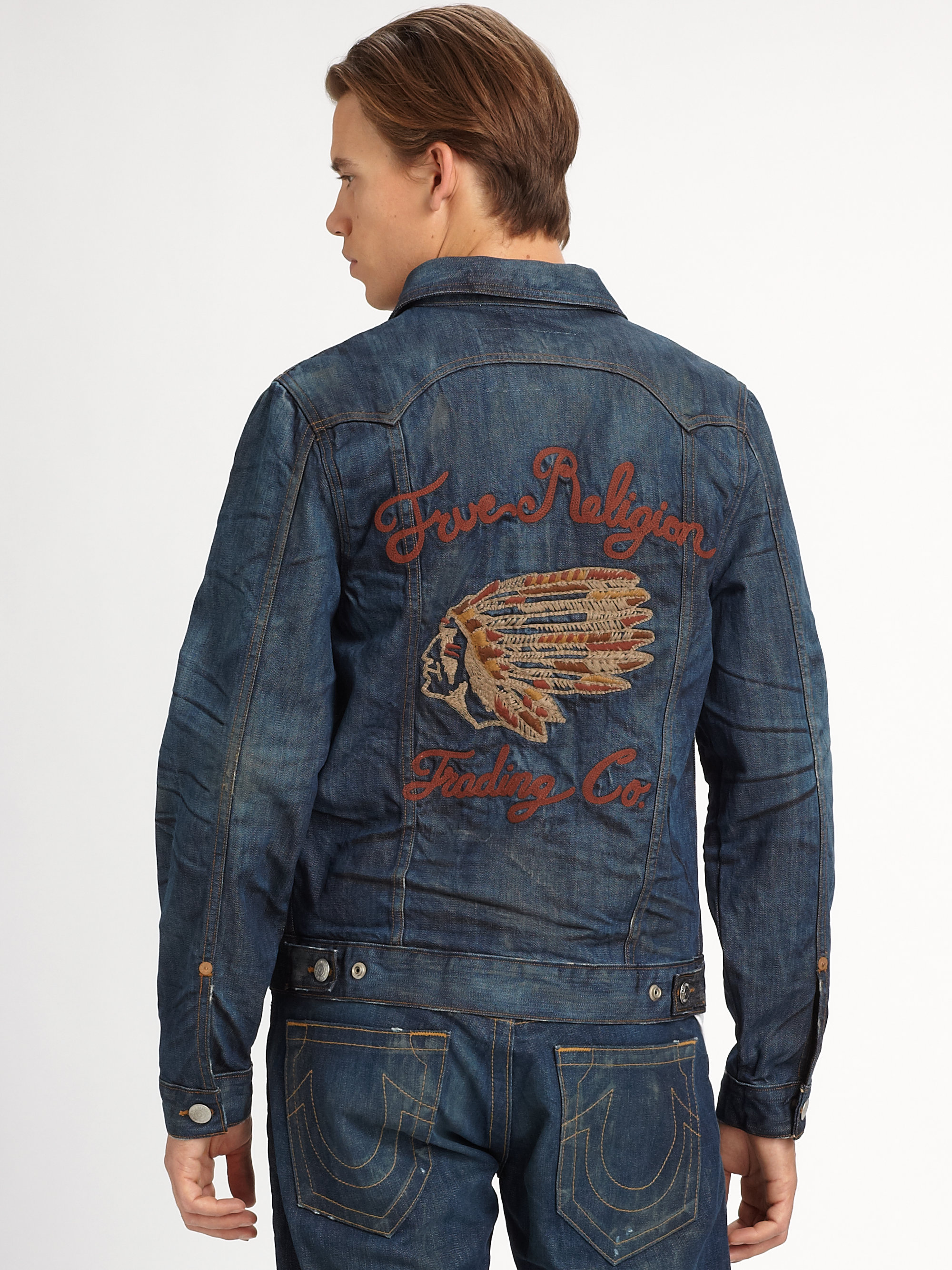 true religion jimmy denim jacket in blue for men lyst. Black Bedroom Furniture Sets. Home Design Ideas