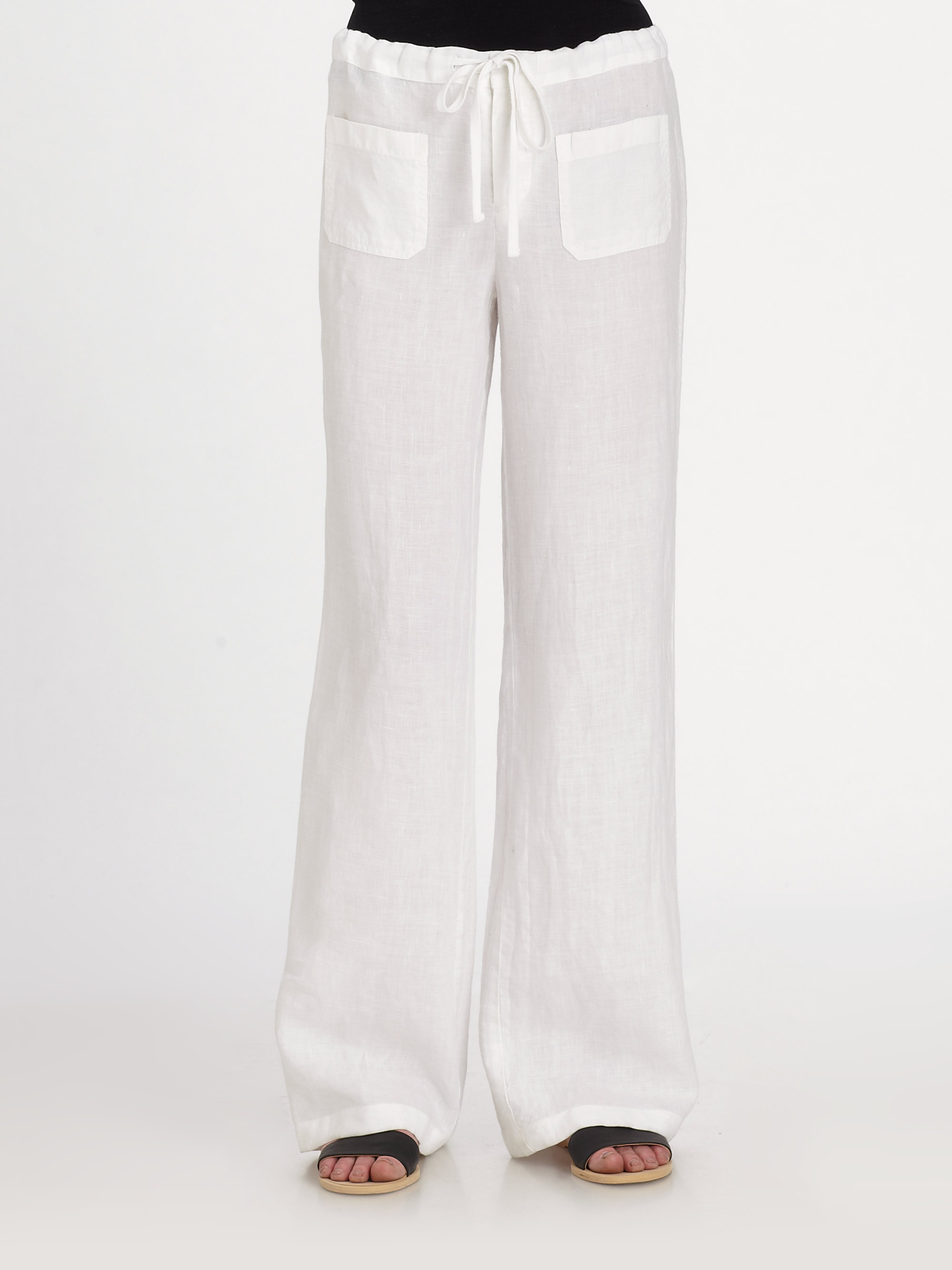 Vince Linen Beach Pants in White | Lyst