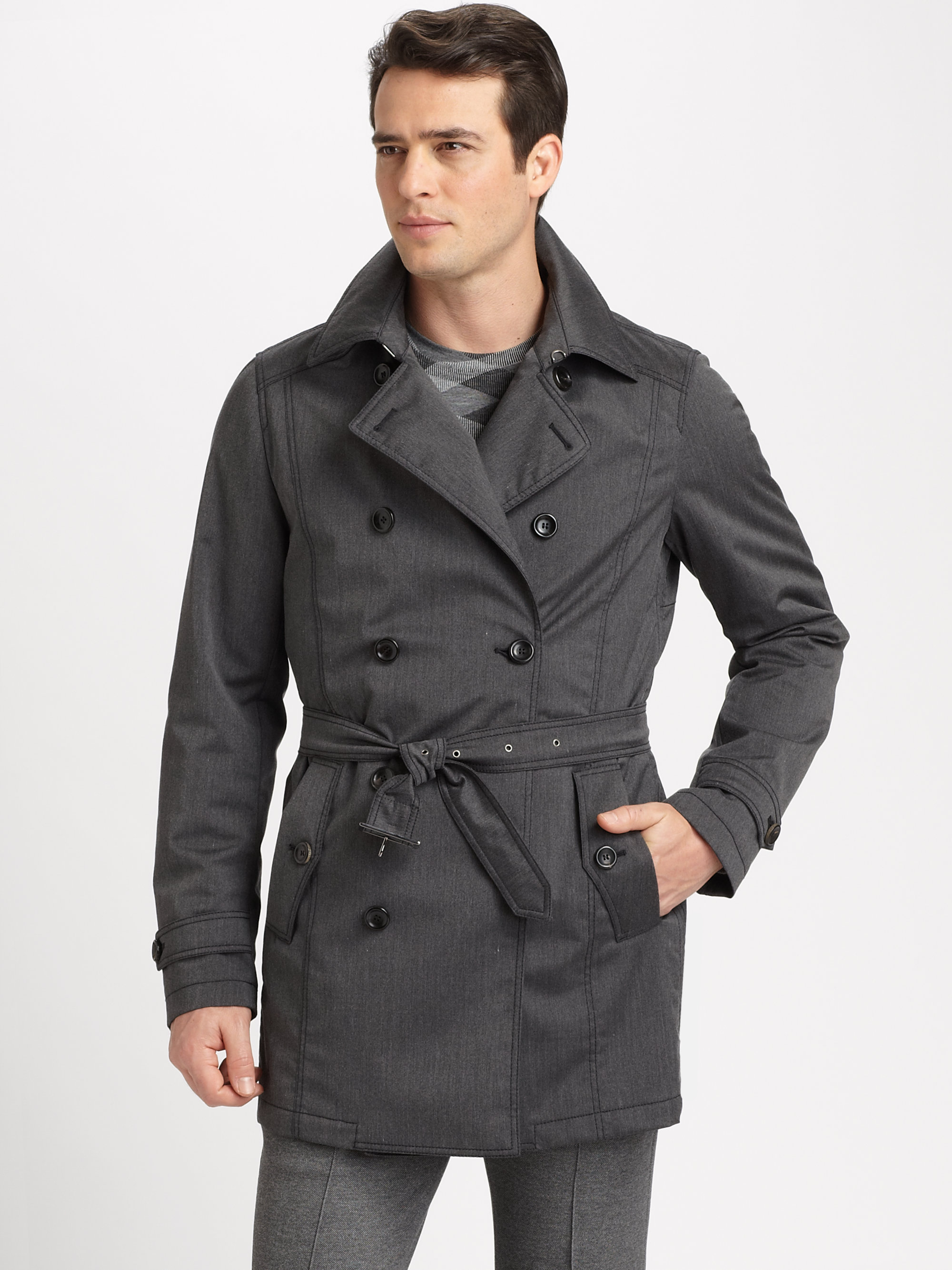 Armani Belted Trench Coat In Gray For Men Grey Lyst
