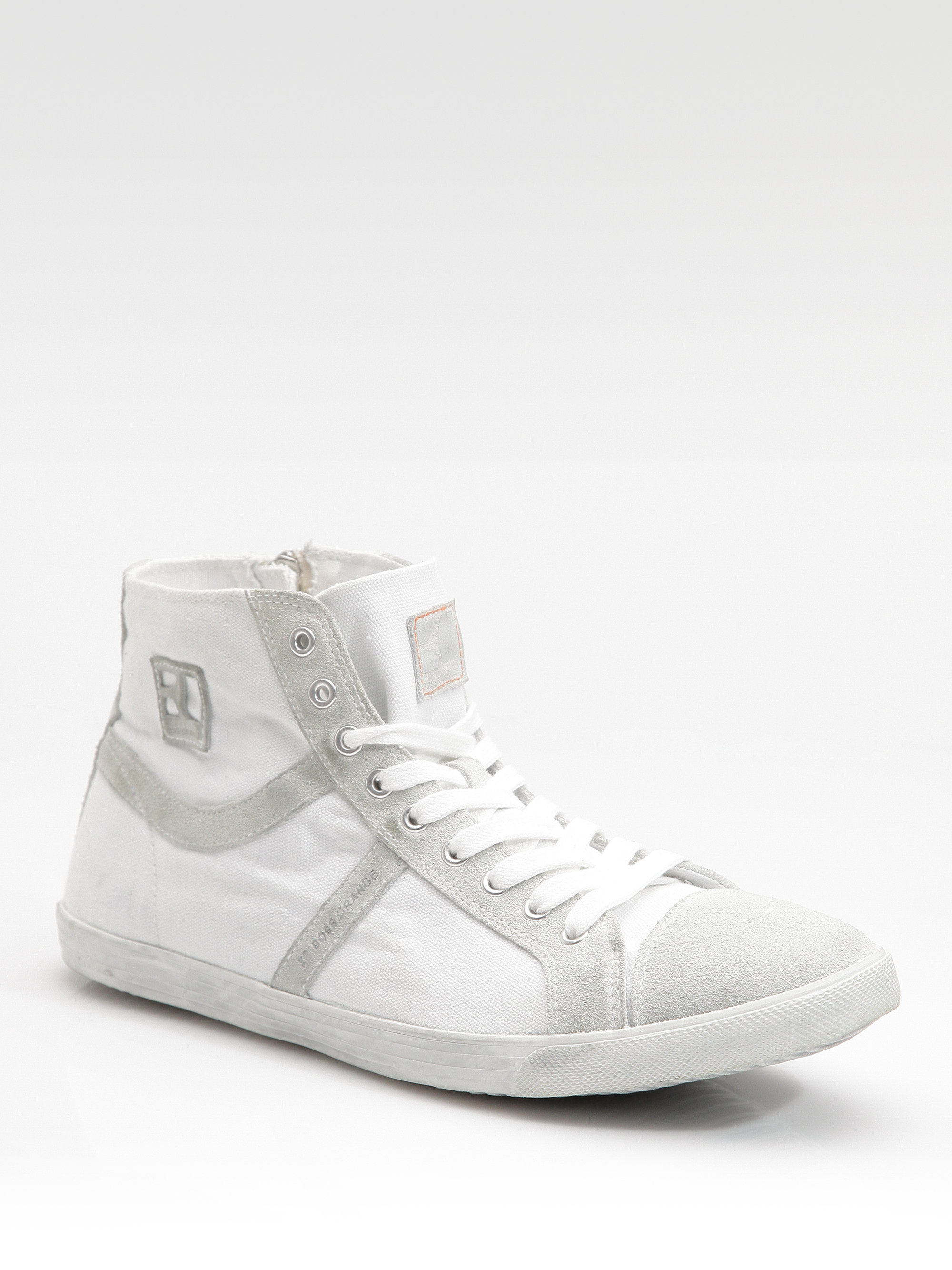 boss orange beckville hightop sneakers in white for men lyst. Black Bedroom Furniture Sets. Home Design Ideas