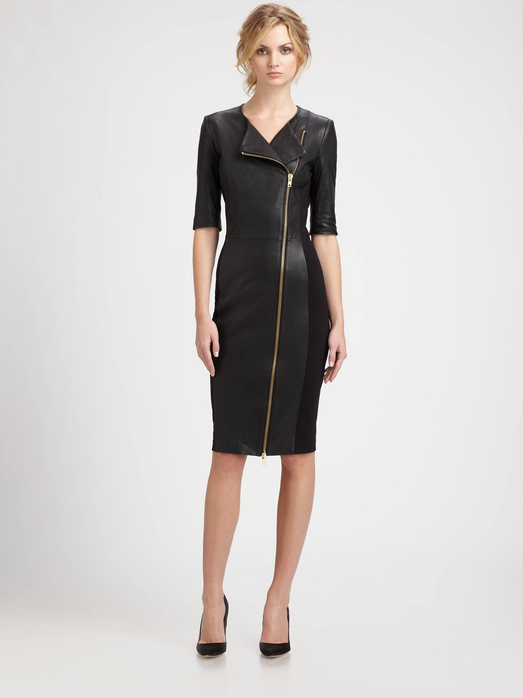 By Malene Birger Asymmetric Zip Leather Dress In Black Lyst