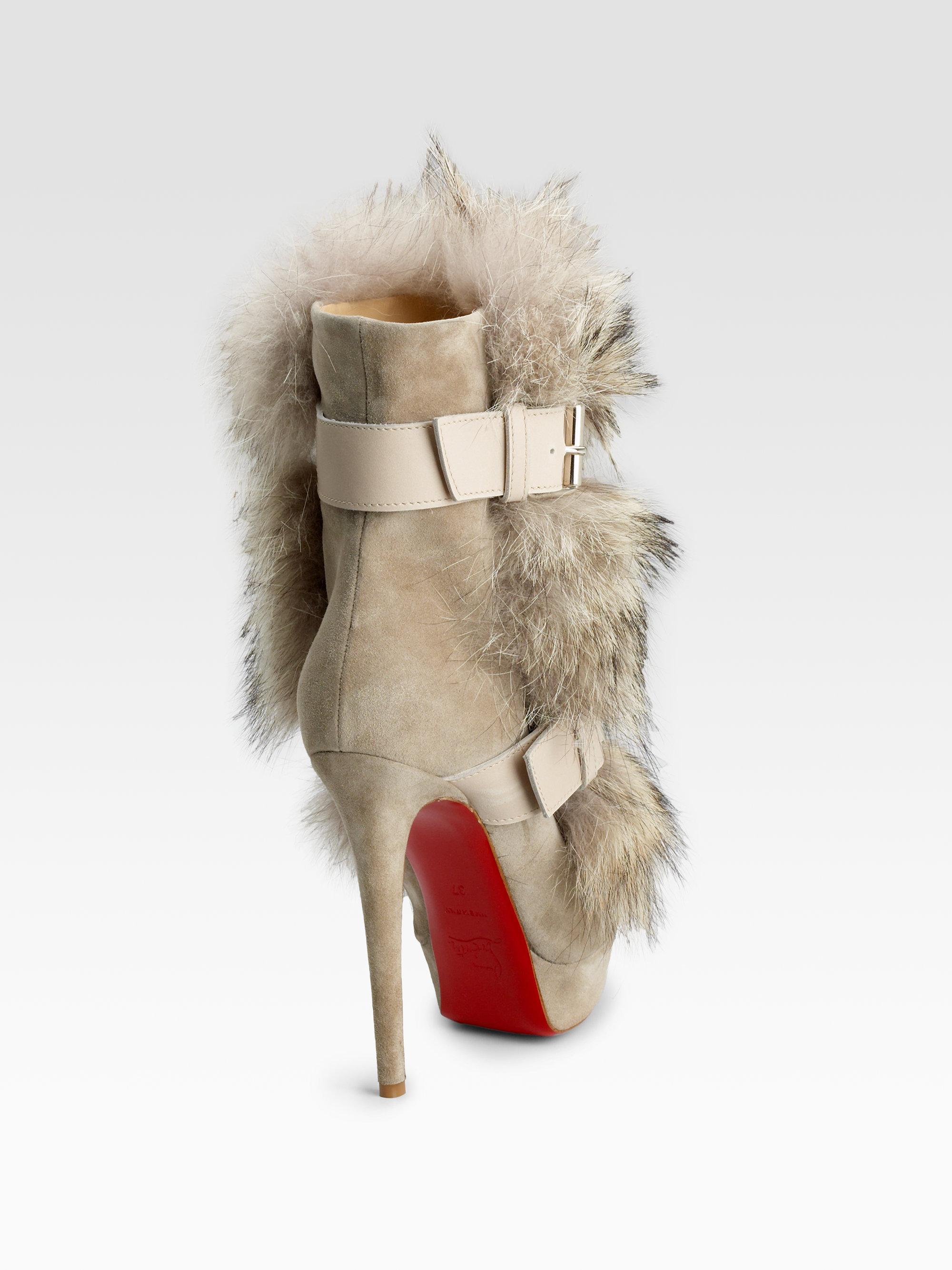 christian louboutin fur boots
