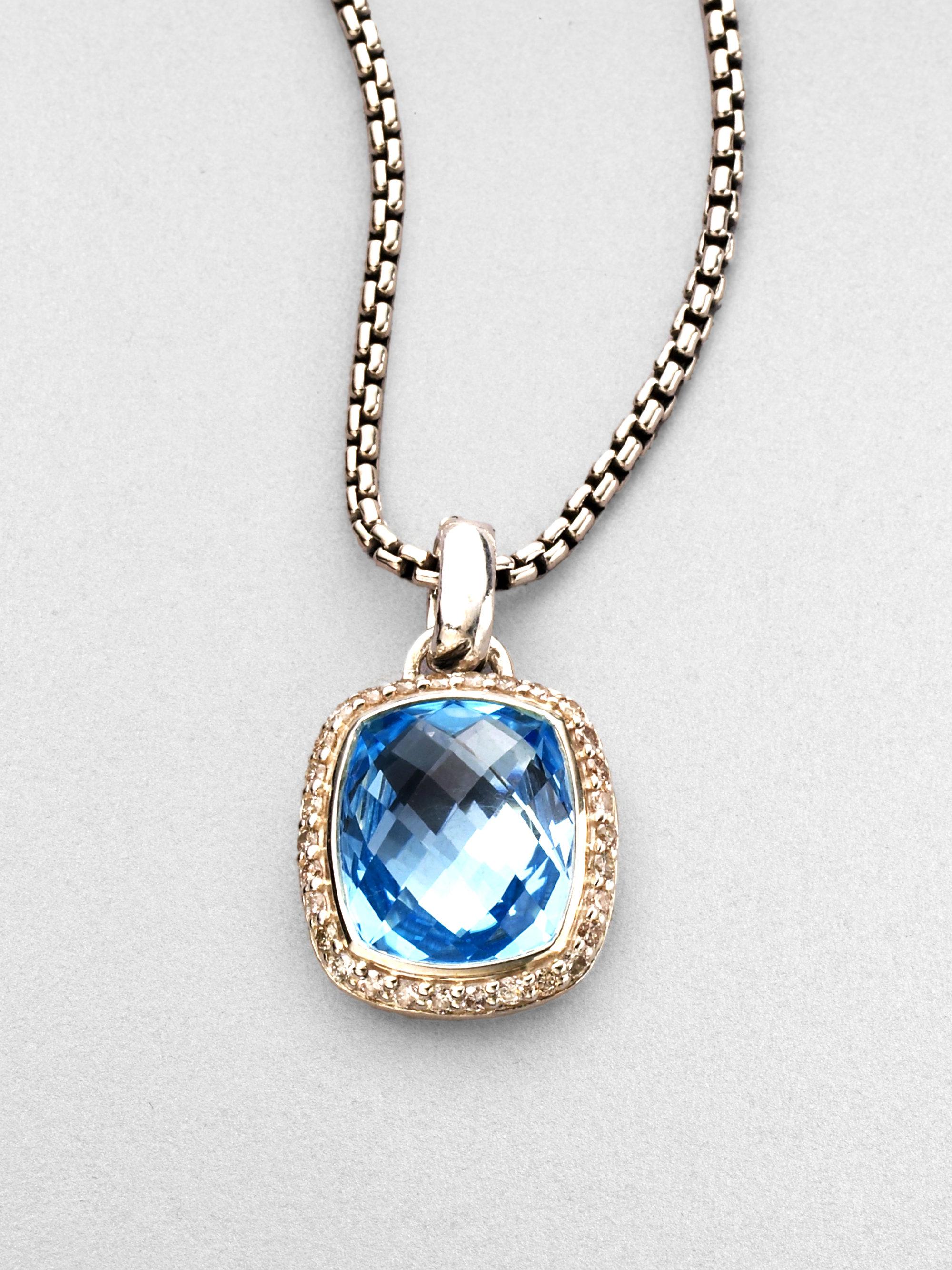 David Yurman Blue Topaz Diamond Sterling Silver Necklace