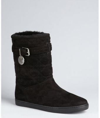 Dior Black Cannage Suede and Shearling Buckle Strap Ankle Boots - Lyst