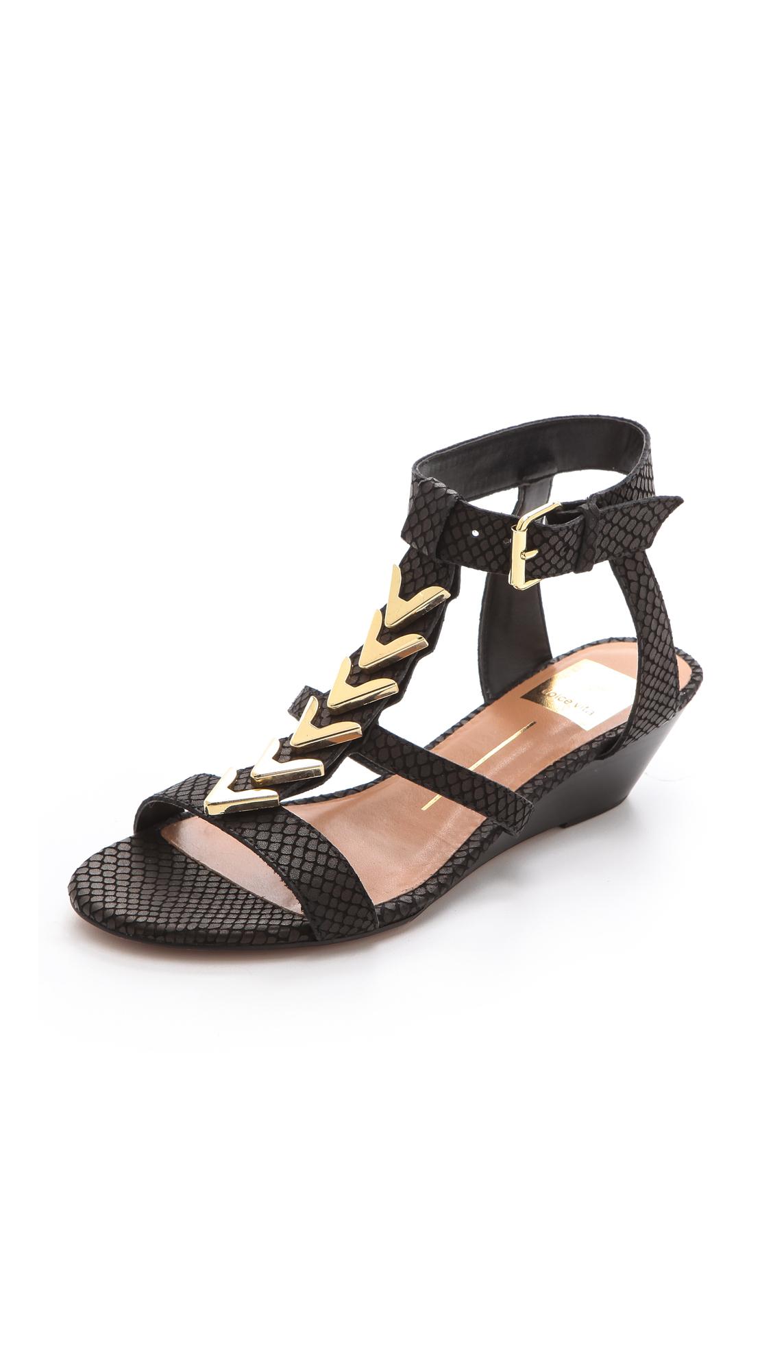 dolce vita helia low wedge sandals in black lyst
