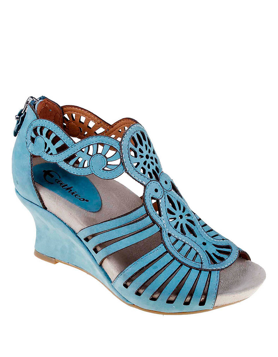 Earthies Caradonna Suede Wedge Sandals In Blue Lyst