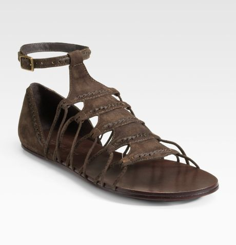 Elizabeth And James Suede Gladiator Flat Sandals in Brown
