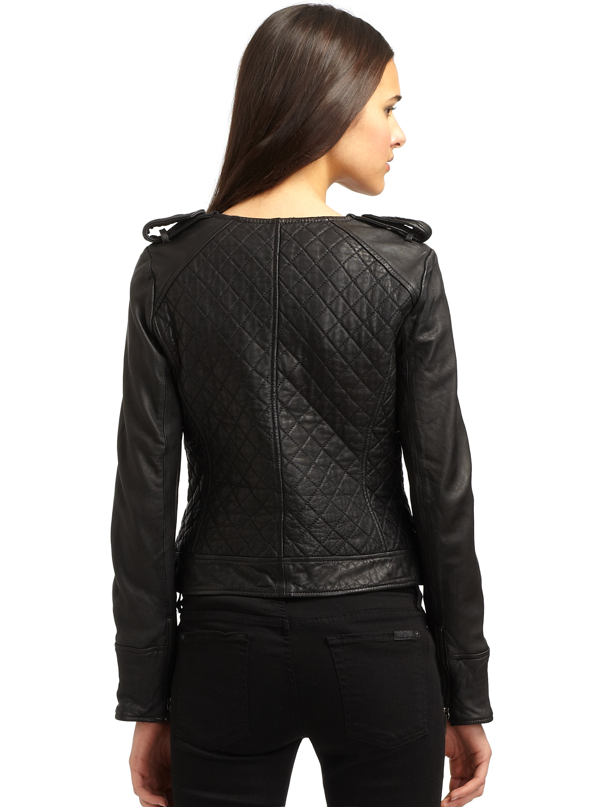 French Connection Quilted Leather Jacket In Black Lyst