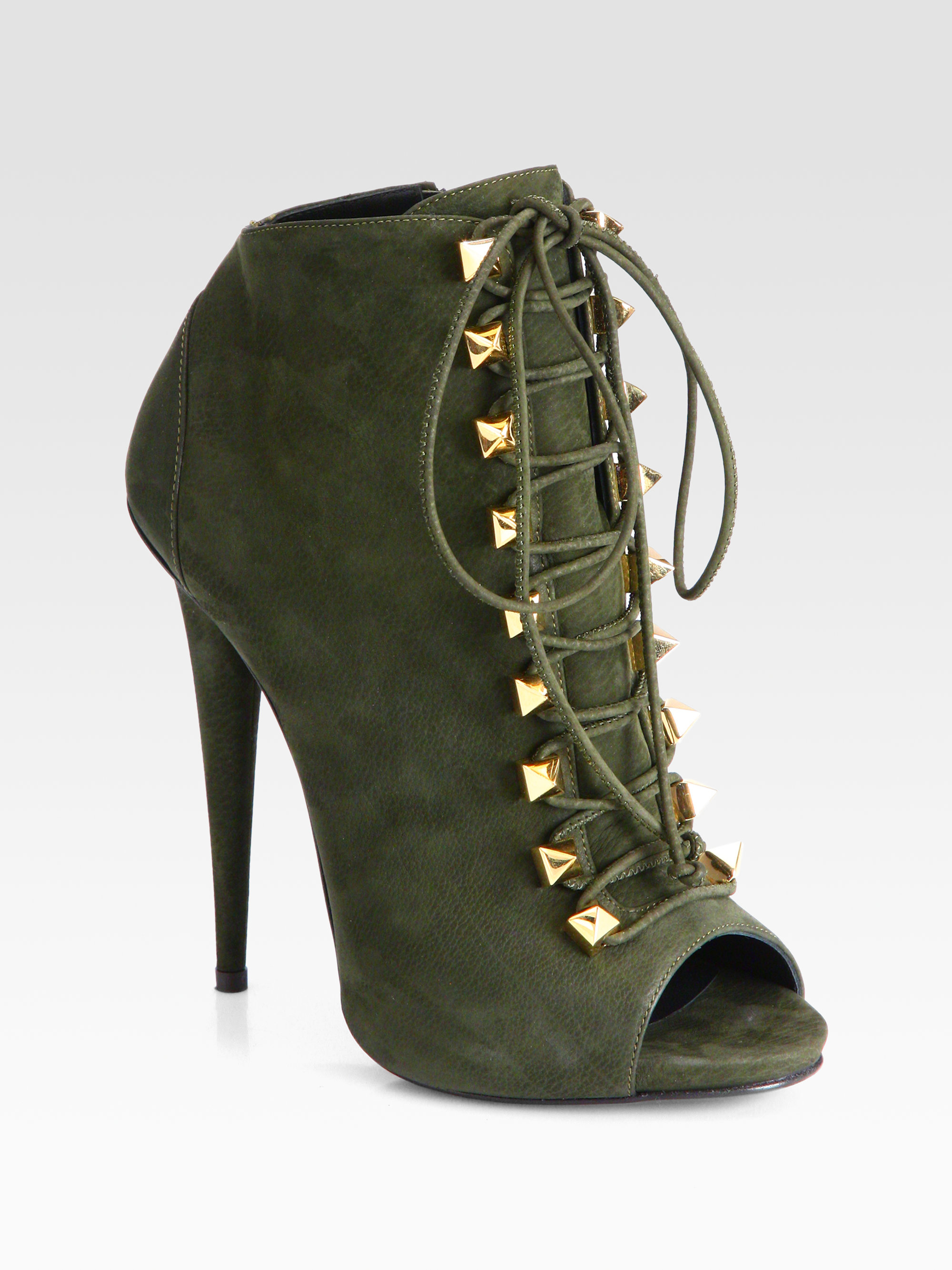 Lyst - Giuseppe Zanotti Suede Laceup Ankle Boots in Green 3057583491e5