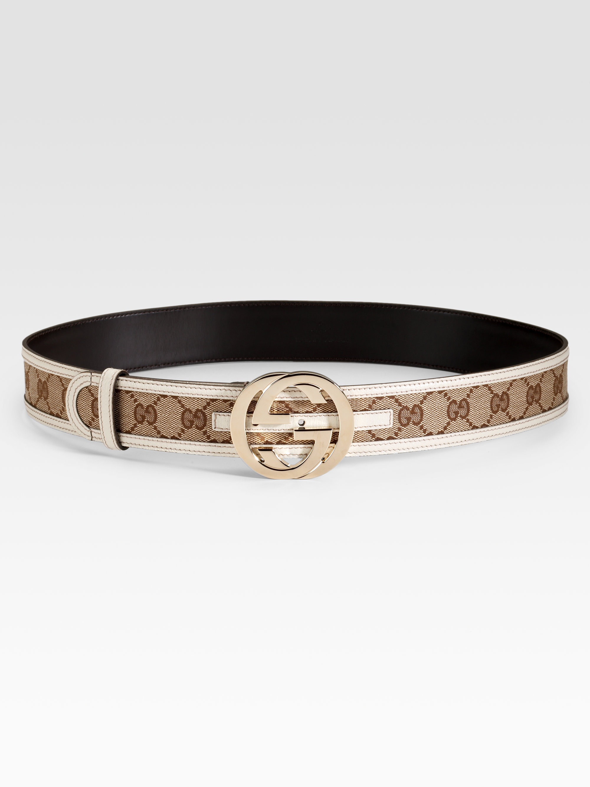 Gucci Interlocking G Buckle Belt in Brown (beige-white) | Lyst