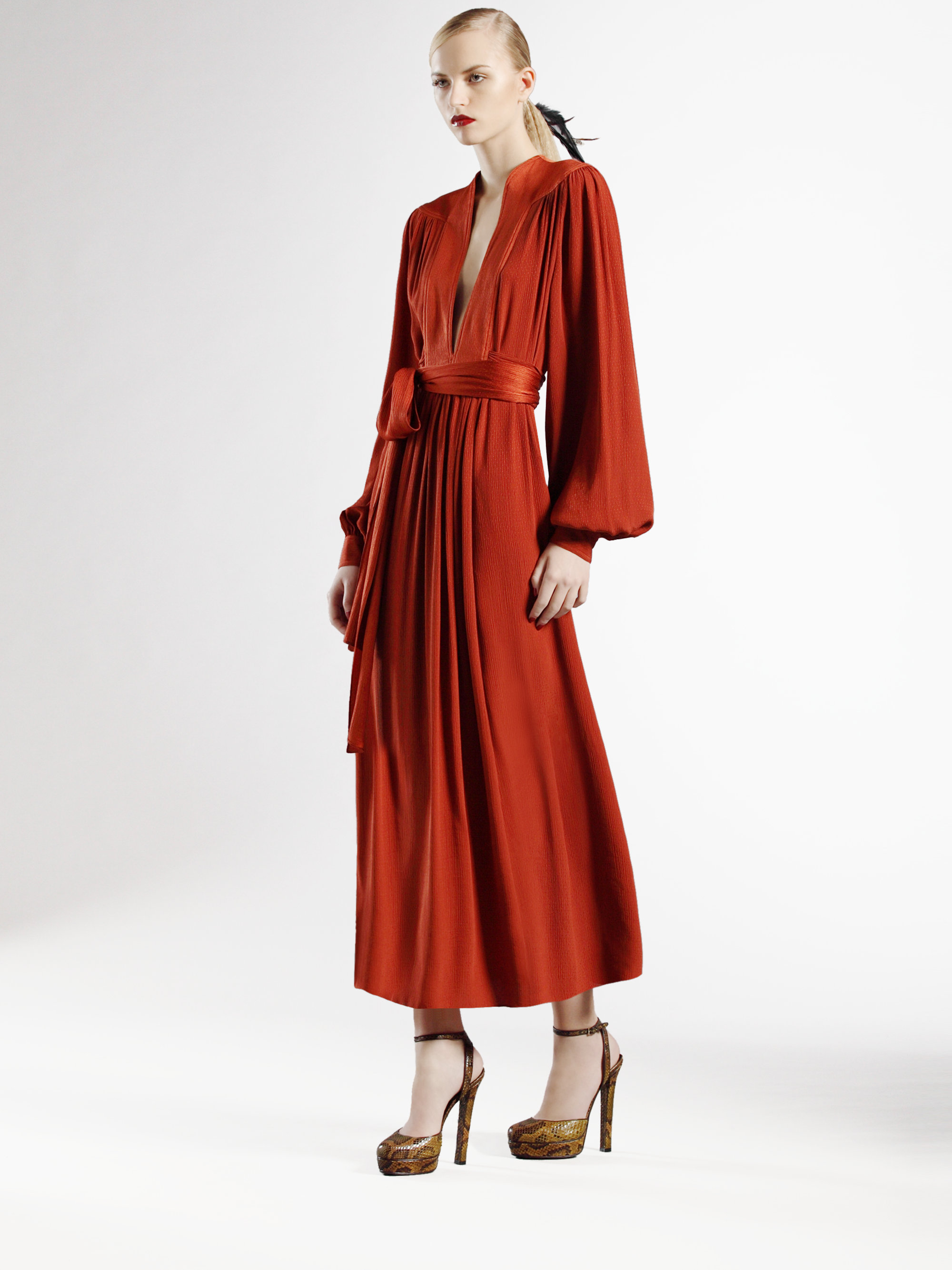 Gucci Long Silk Dress in Orange | Lyst
