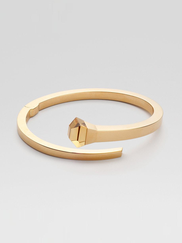 Lyst Gucci Orange Quartz Motherofpearl 18k Yellow Gold Bracelet In