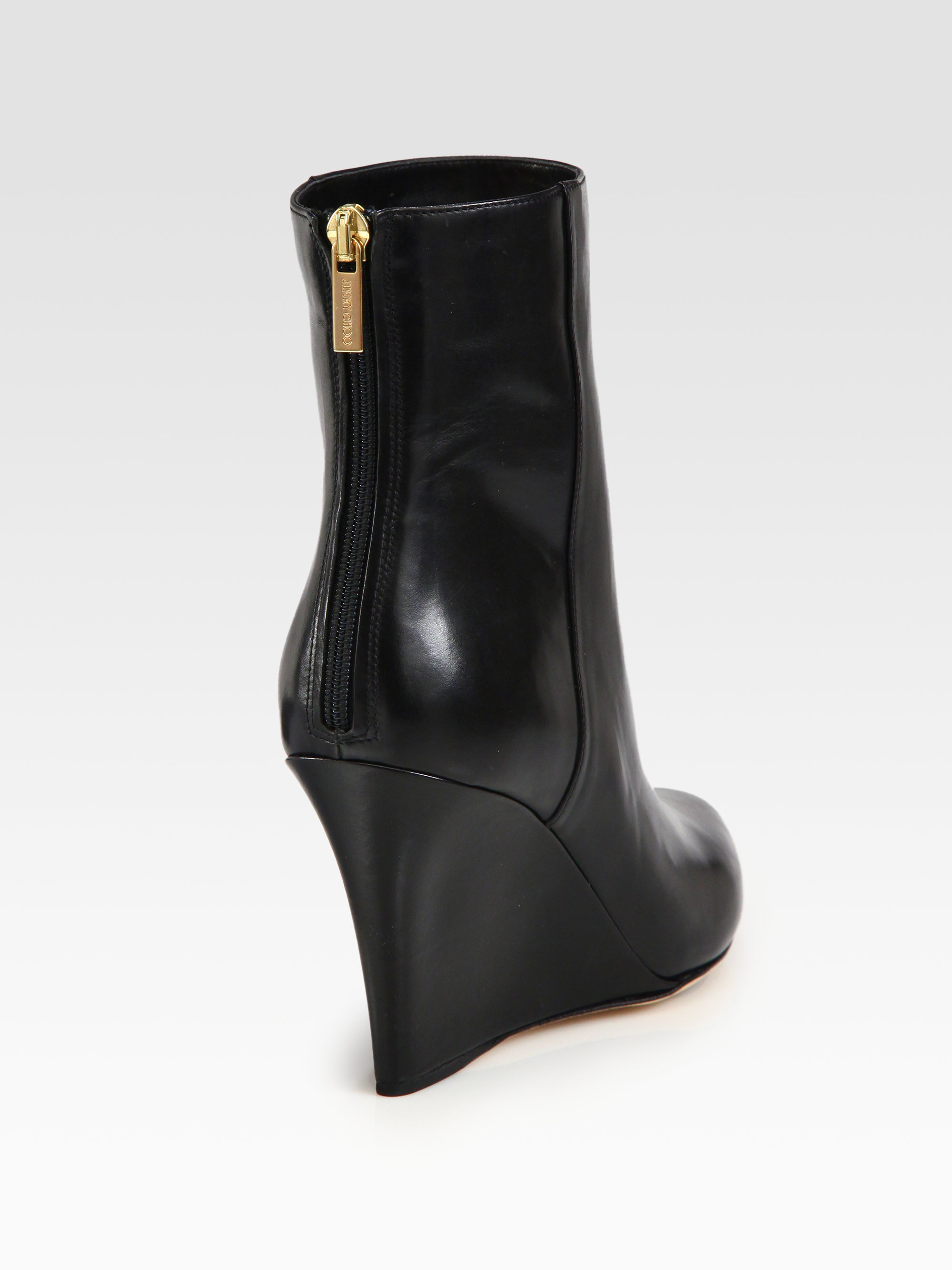 Lyst - Jimmy Choo Mayor Leather Wedge Ankle Boots in Black 5e9cb27725e3