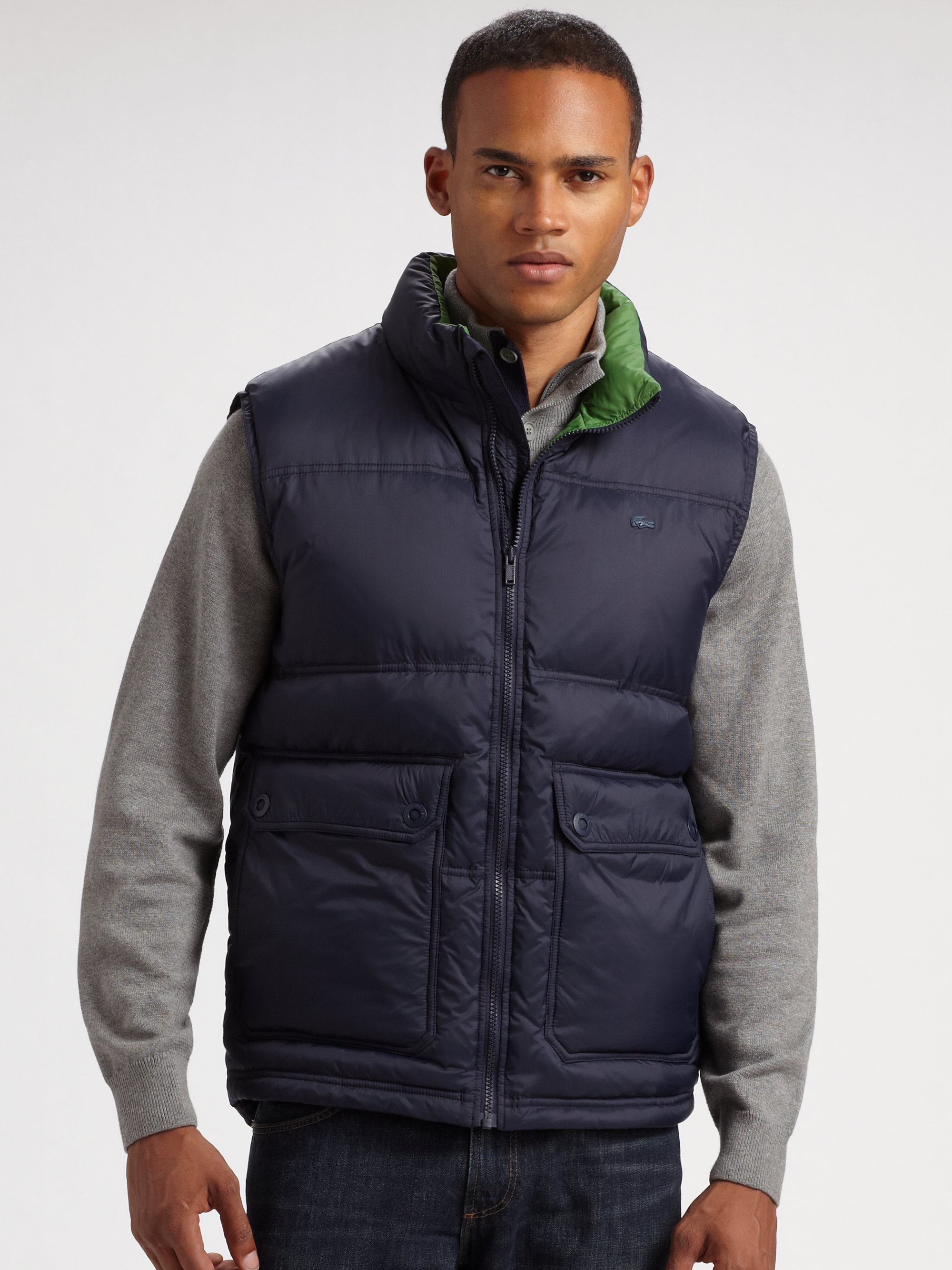 Lyst Lacoste Nylon Puffer Vest In Blue For Men