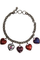 Lanvin Enameled Swarovski Crystal Heart Necklace