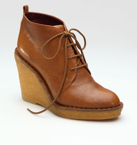 marc by marc wax wedge ankle boots in brown cognac