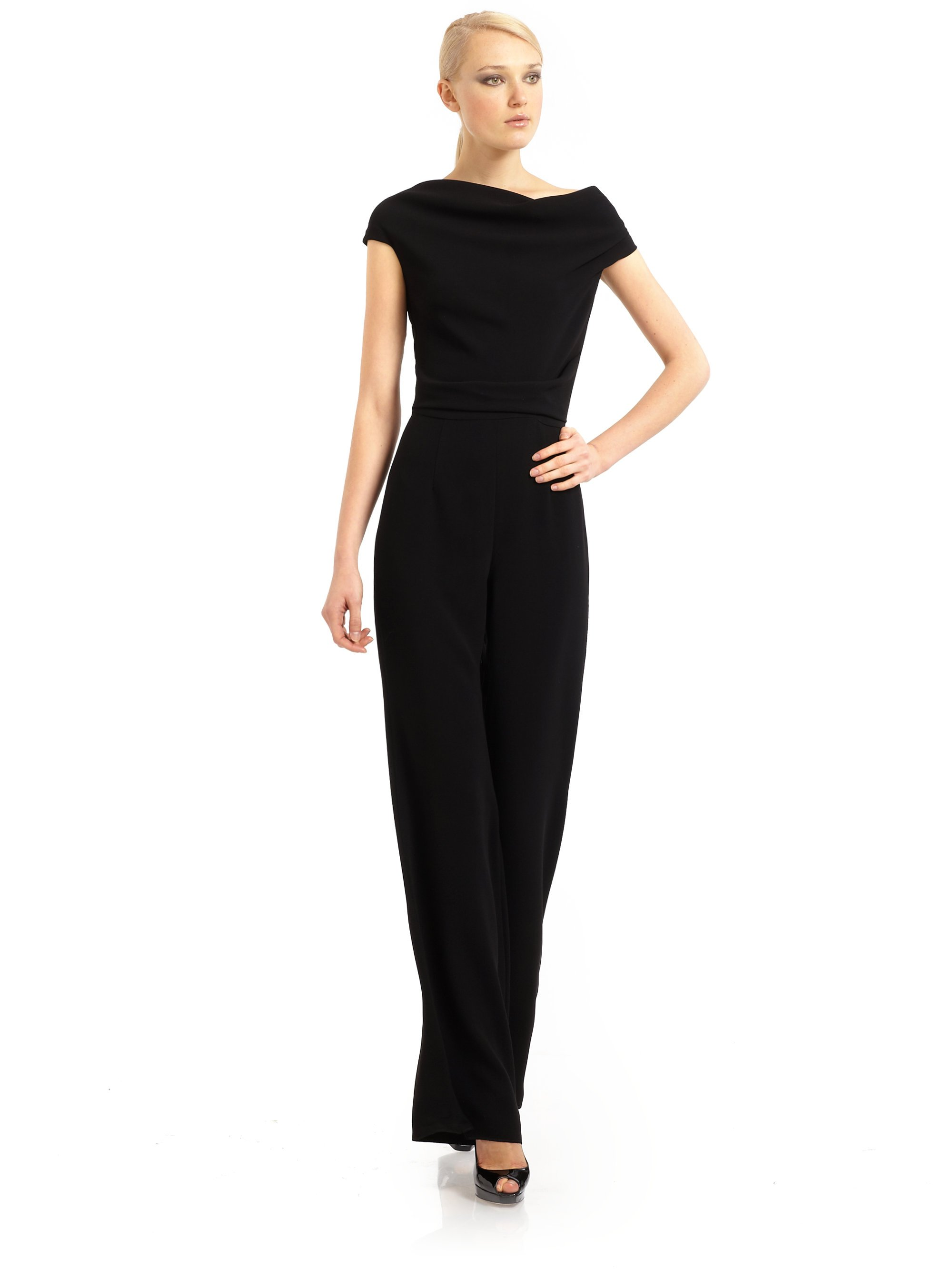 Lyst - Max Mara Cowl Neck One Piece Pant Suit in Black