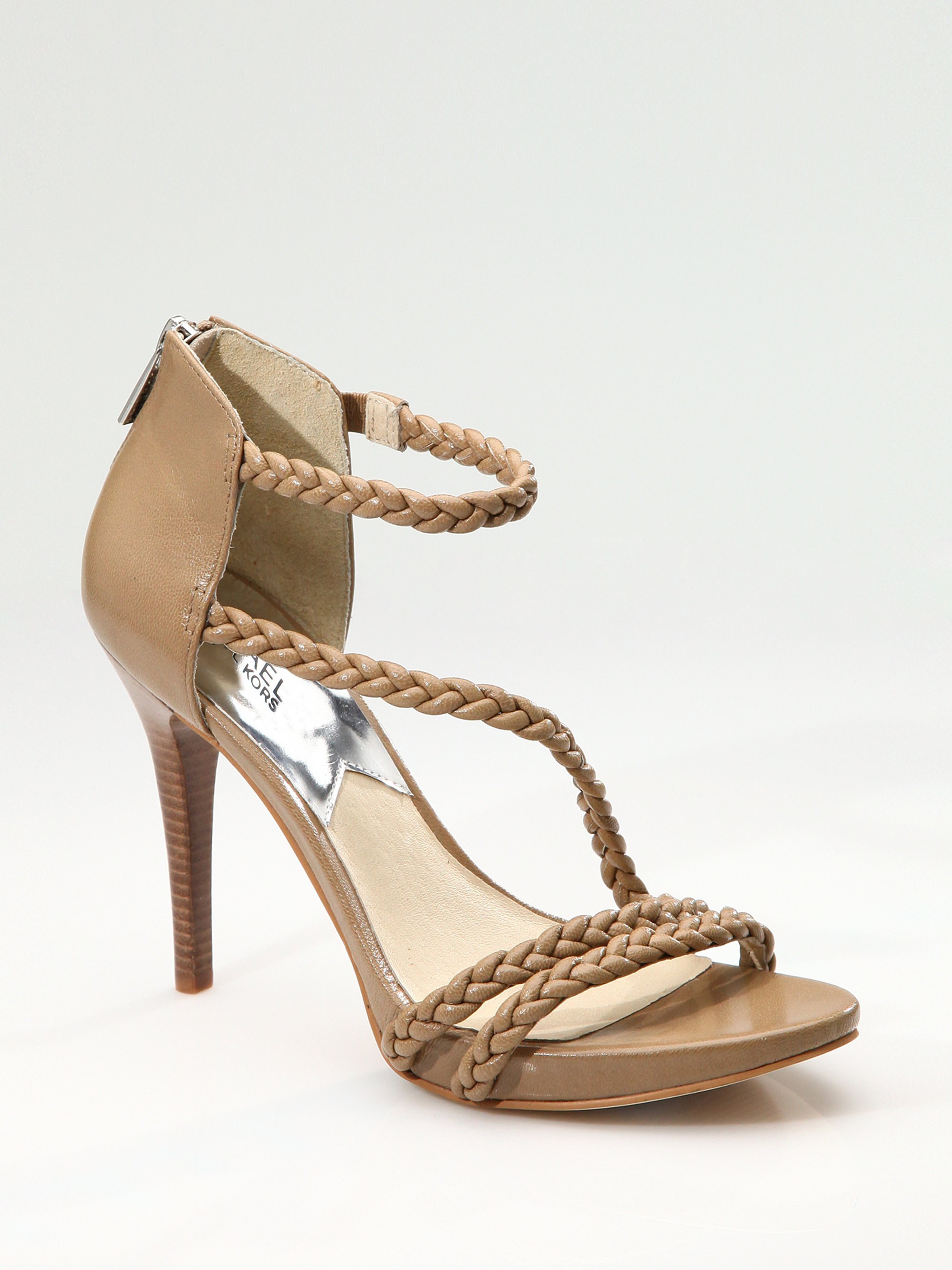 Lyst   Michael Michael Kors Braided Strappy Sandals In Natural