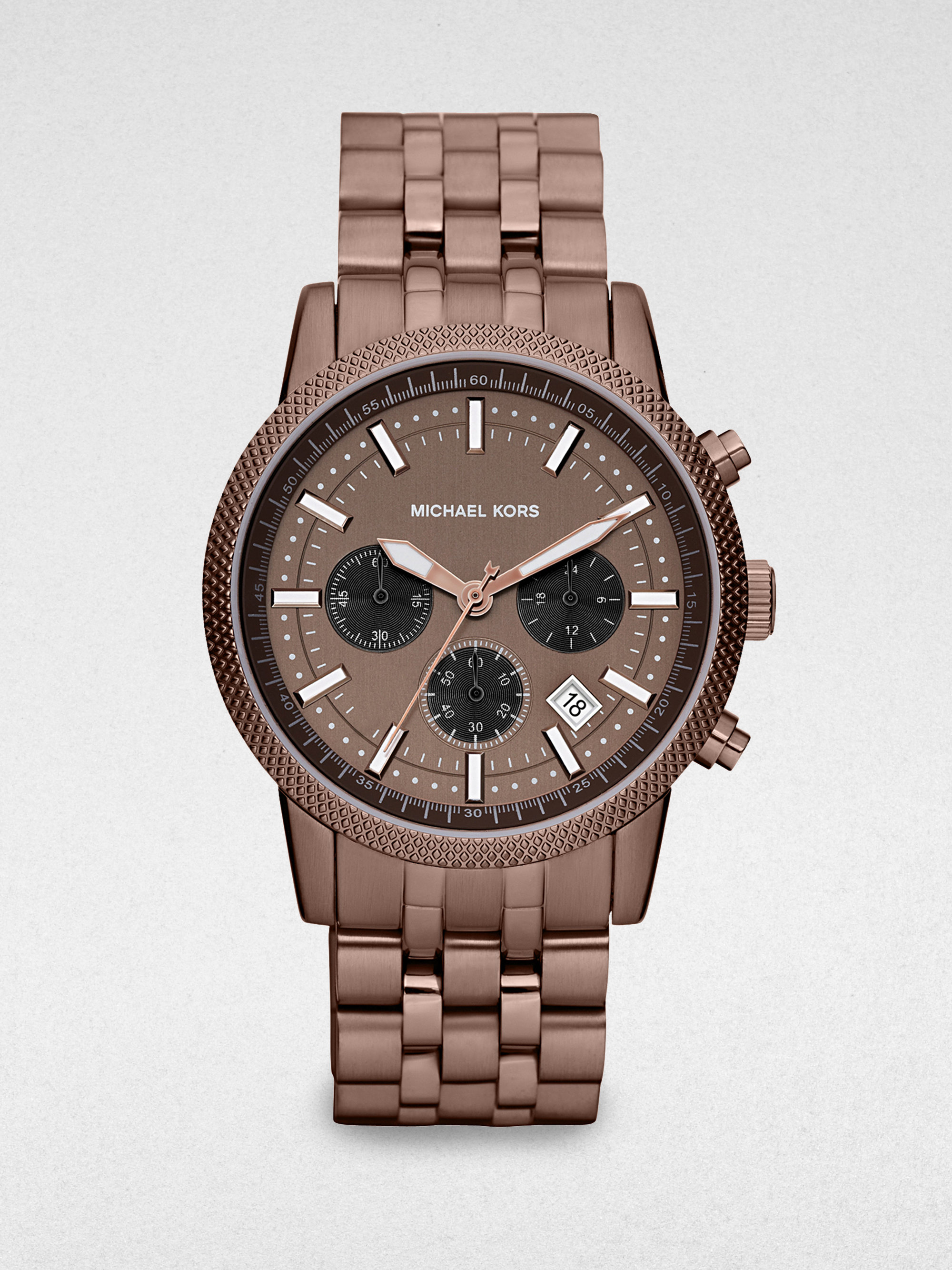 Michael kors stainless steel chronograph watch in brown