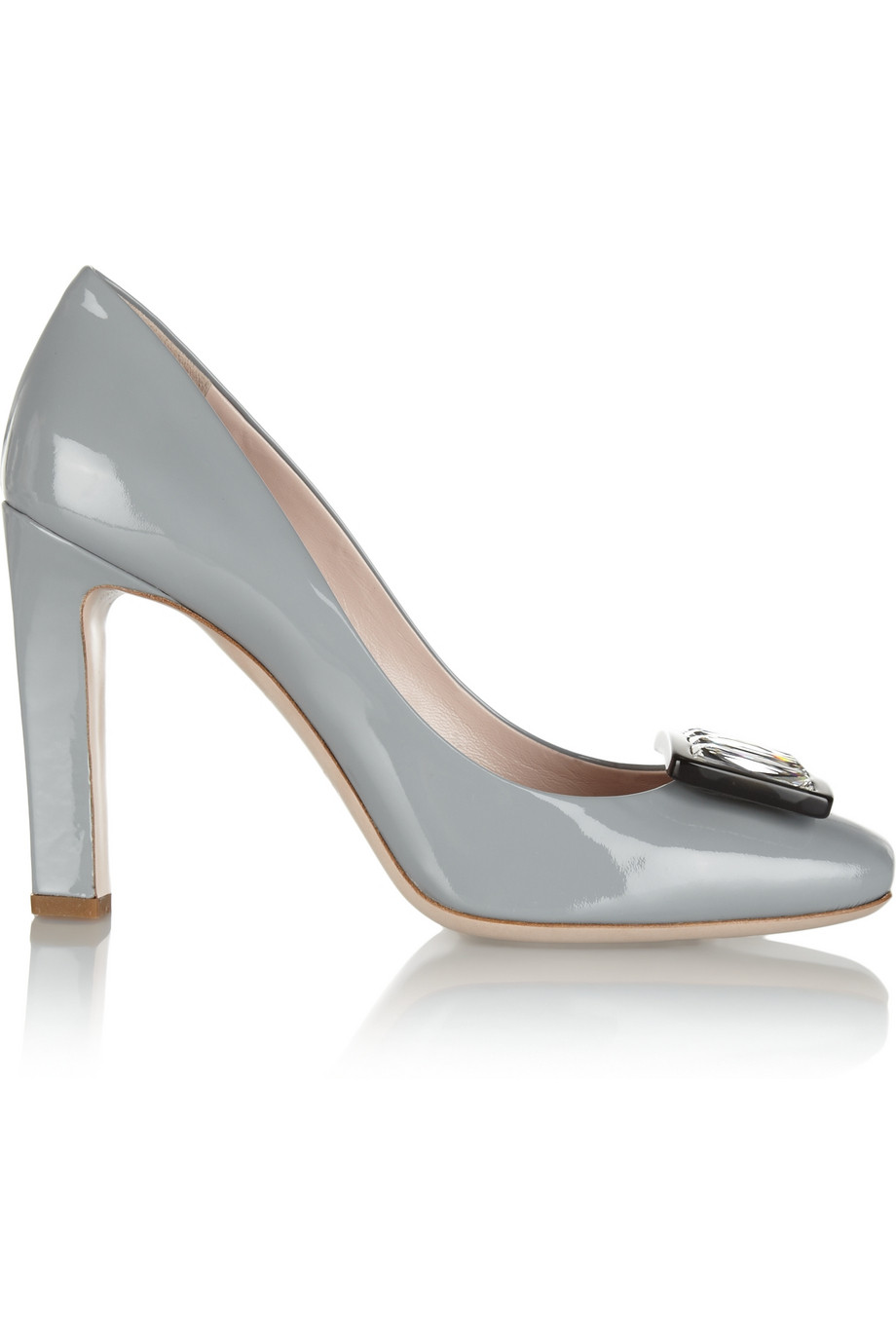 8317a15f18d Lyst - Miu Miu Crystalembellished Patentleather Pumps in Gray